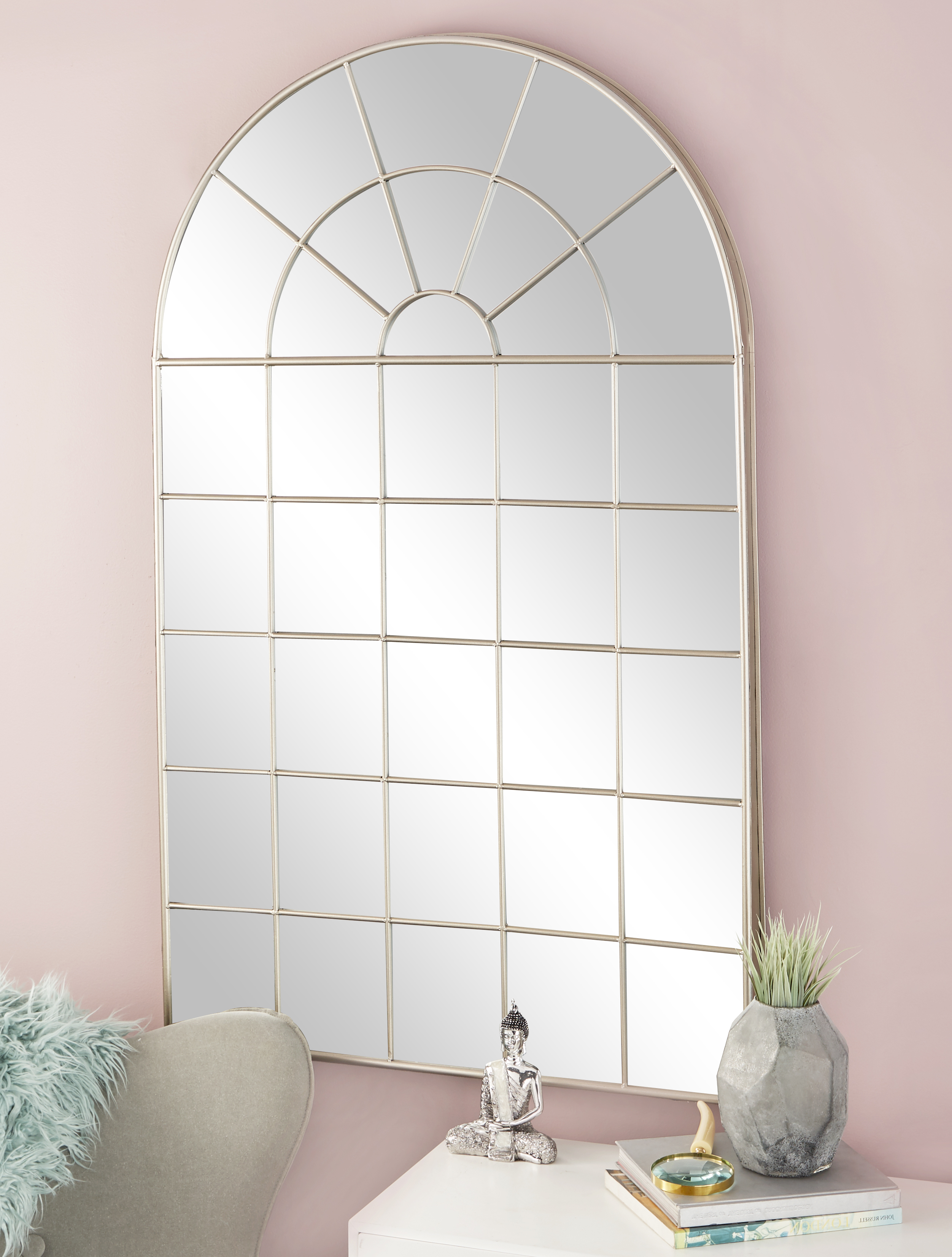Cosmoliving Large Traditional Style Metal Arched Window Pane Mirror (View 12 of 20)