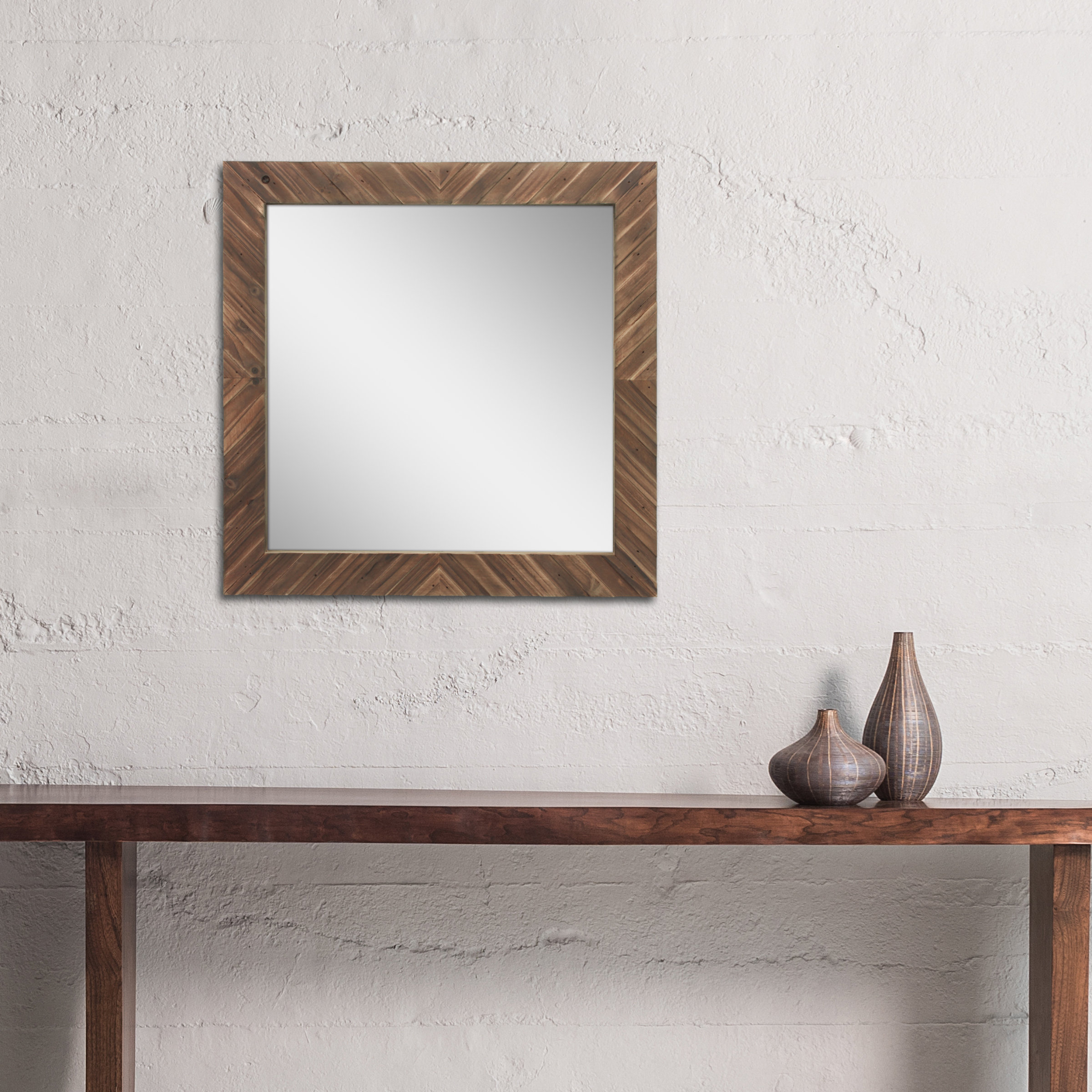 Costin Textured Wooden Wall Accent Mirror Intended For Most Recent Wooden Wall Mirrors (View 7 of 20)