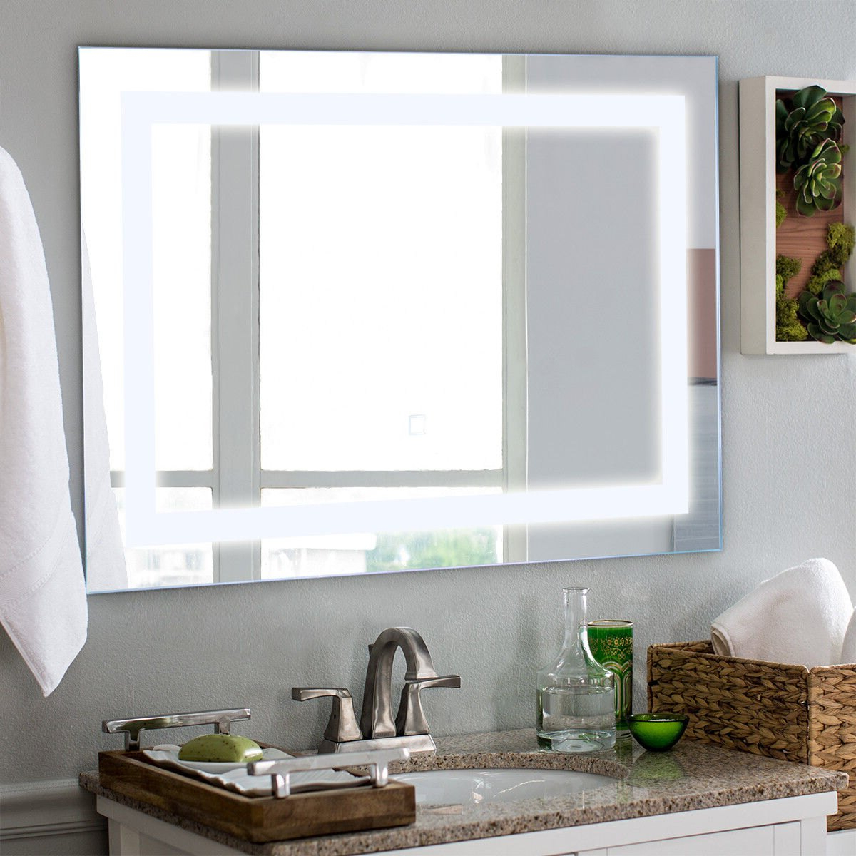 Costway 27.5'' Led Wall Mounted Rect Mirror Makeup Bathroom Illuminated  Mirror W/touch Inside Favorite Makeup Wall Mirrors (Gallery 13 of 20)