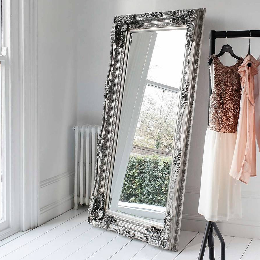 Cream Carved Floor Standing Mirror Throughout Popular Stand Up Wall Mirrors (Gallery 1 of 20)