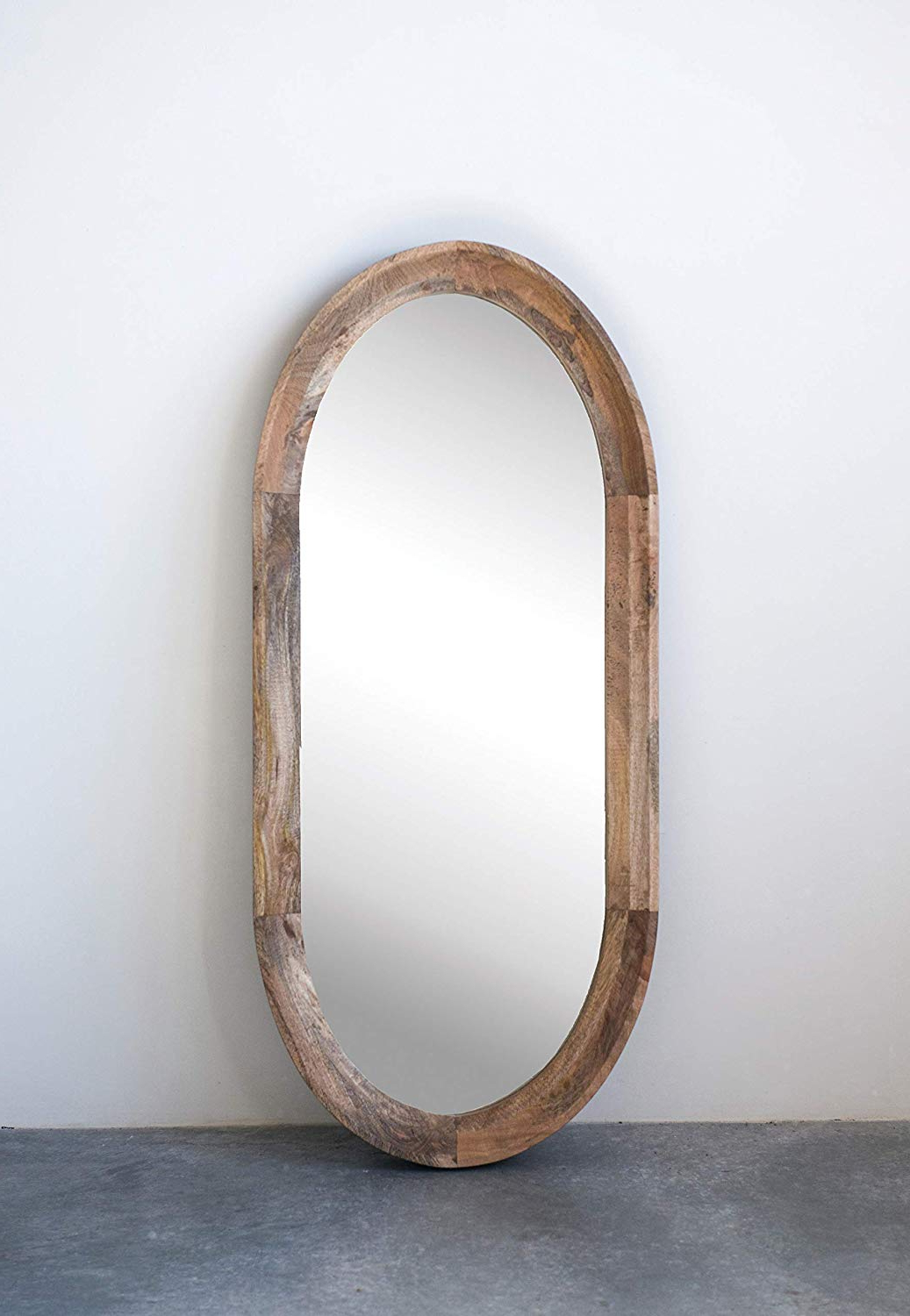 Creative Co Op Oval Wall Mirror With Mango Wood Frame Regarding Most Popular Oval Wall Mirrors (View 11 of 20)