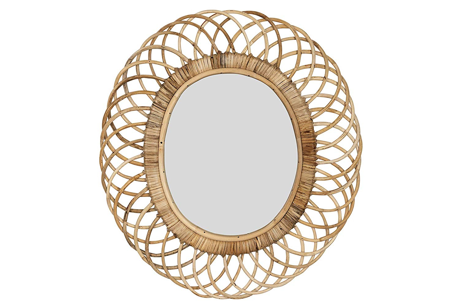 Creative Co Op Oval Woven Bamboo Wall Mirror, Brown In Most Current Bamboo Wall Mirrors (View 17 of 20)