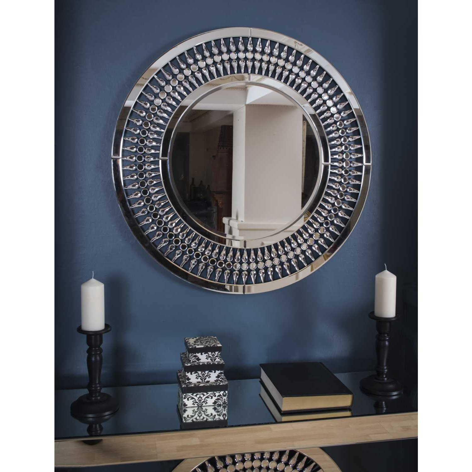Crystal Wall Mirrors With Most Current Large Round Mirrored Glass 3ft Crystal Wall Mirror 90cm Diameter (View 20 of 20)
