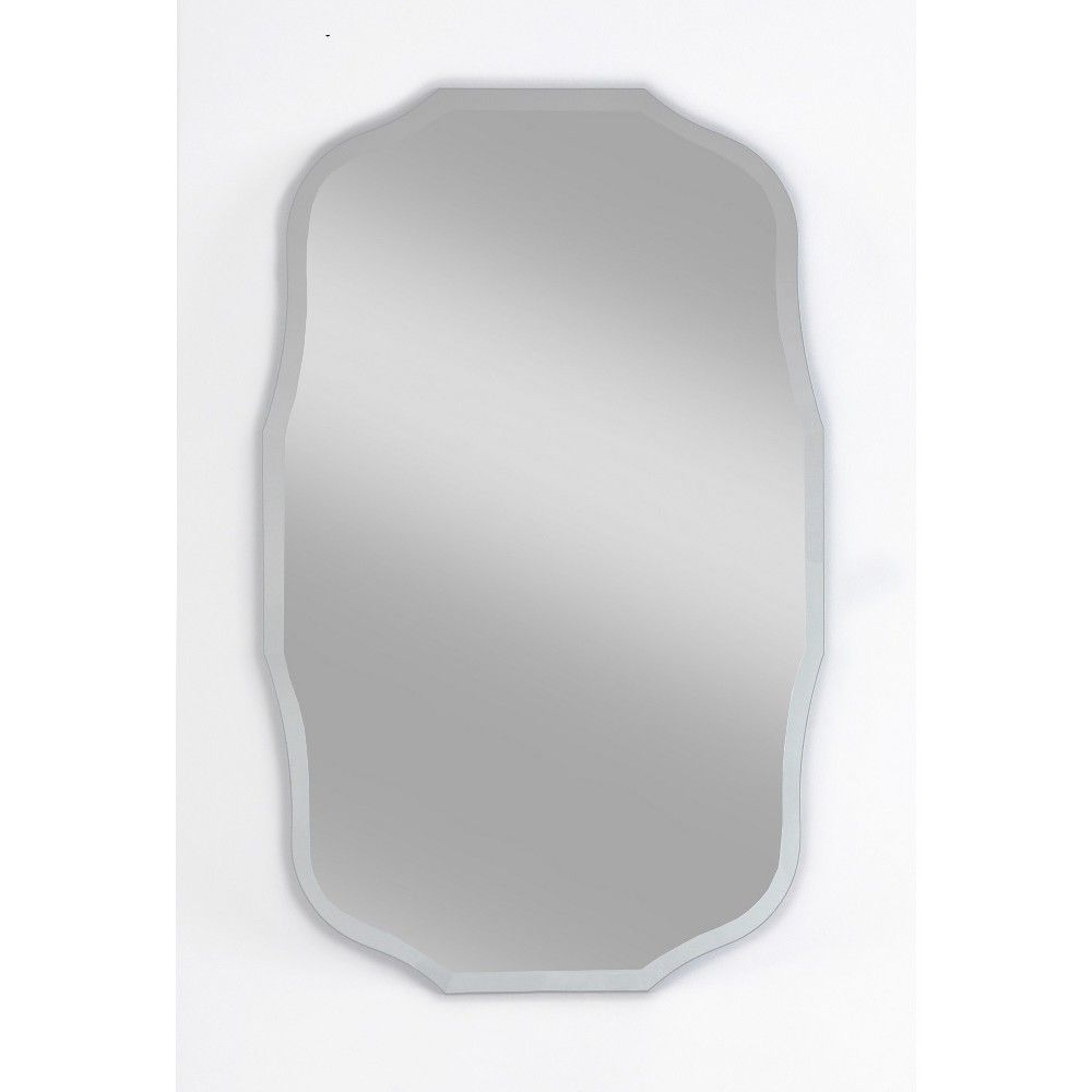 "Current 15"" X 24"" Madison Frameless Decorative Beveled Glass Wall Mirror Regarding Reign Frameless Oval Scalloped Beveled Wall Mirrors (View 1 of 20)"
