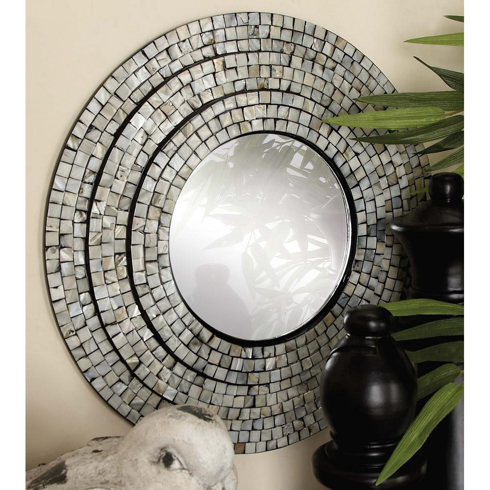 Current 2 Piece Contemporary Mother Of Pearl Mosaic Wall Mirror Set With Regard To Round Mosaic Wall Mirrors (View 14 of 20)