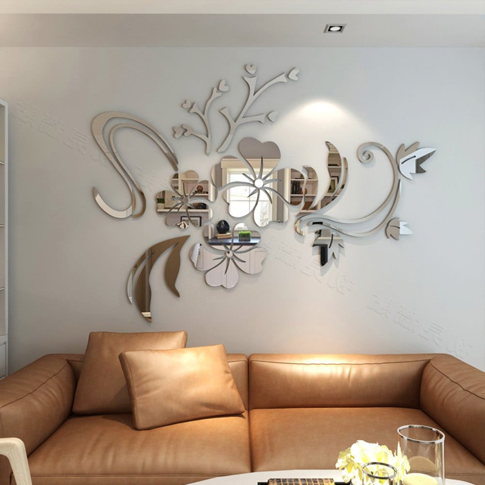 Current 3D Stereo Flower Wall Mirror Wall Stickers Regarding Wall Mirror Stickers (View 12 of 20)