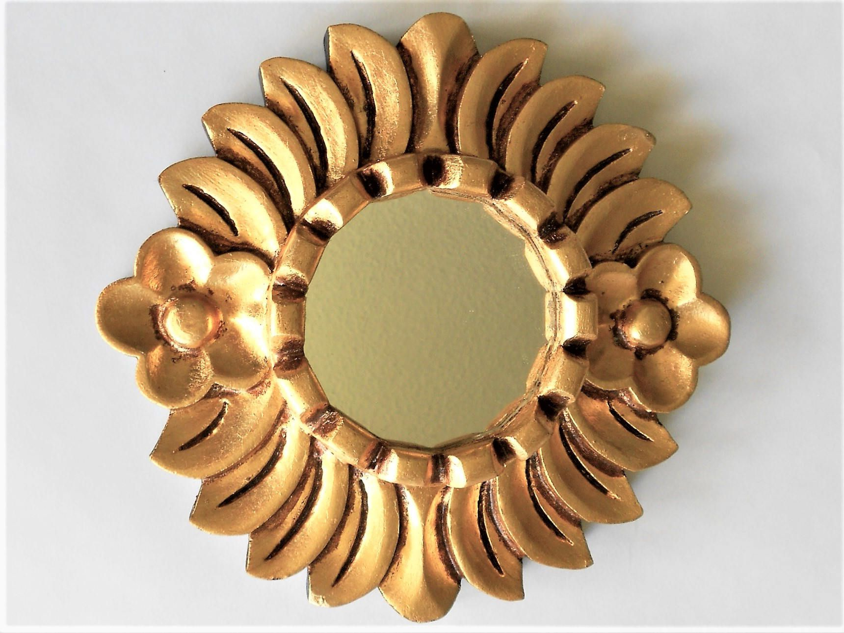 "Current 8"", Mirror Gold, Round Mirror, Small Wall Mirror, Wall Intended For Small Gold Wall Mirrors (View 20 of 20)"