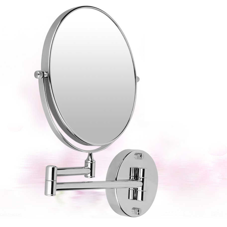 "Current Adjustable Arm Chrome Round 8"" Wall Mirror Vanity Mirror Cosmetic Mirror  Wall Mounted Double Sided 5X Magnifying Makeup Mirrors With Adjustable Wall Mirrors (View 10 of 20)"