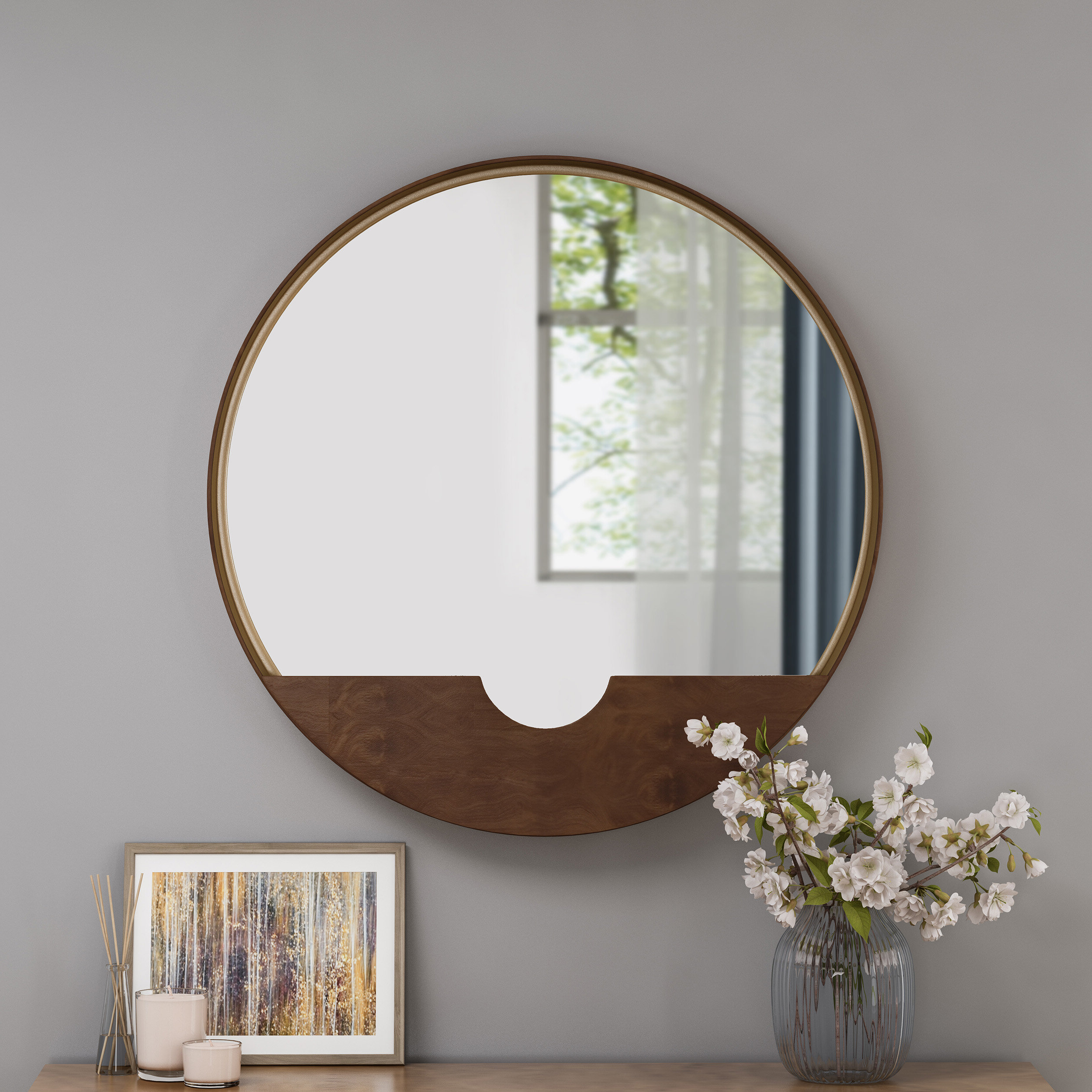 Current Albertson Round Minimalistic Metal Accent Mirror Pertaining To Faux Window Wood Wall Mirrors (View 3 of 20)
