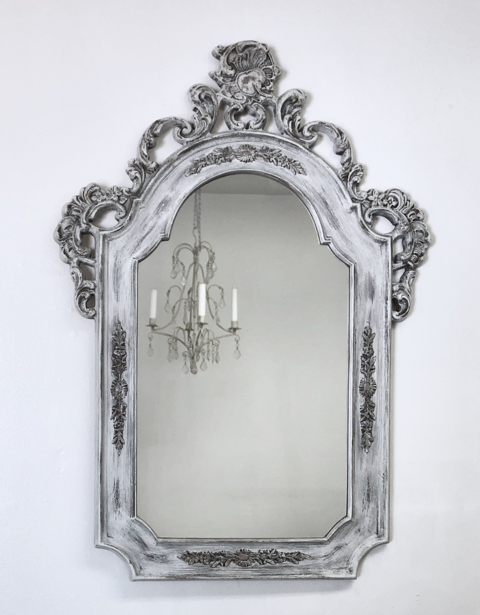 """Current Antique Framed Mirror For Sale 32""""x23"""" Distressed White Intended For White Shabby Chic Wall Mirrors (View 14 of 20)"""