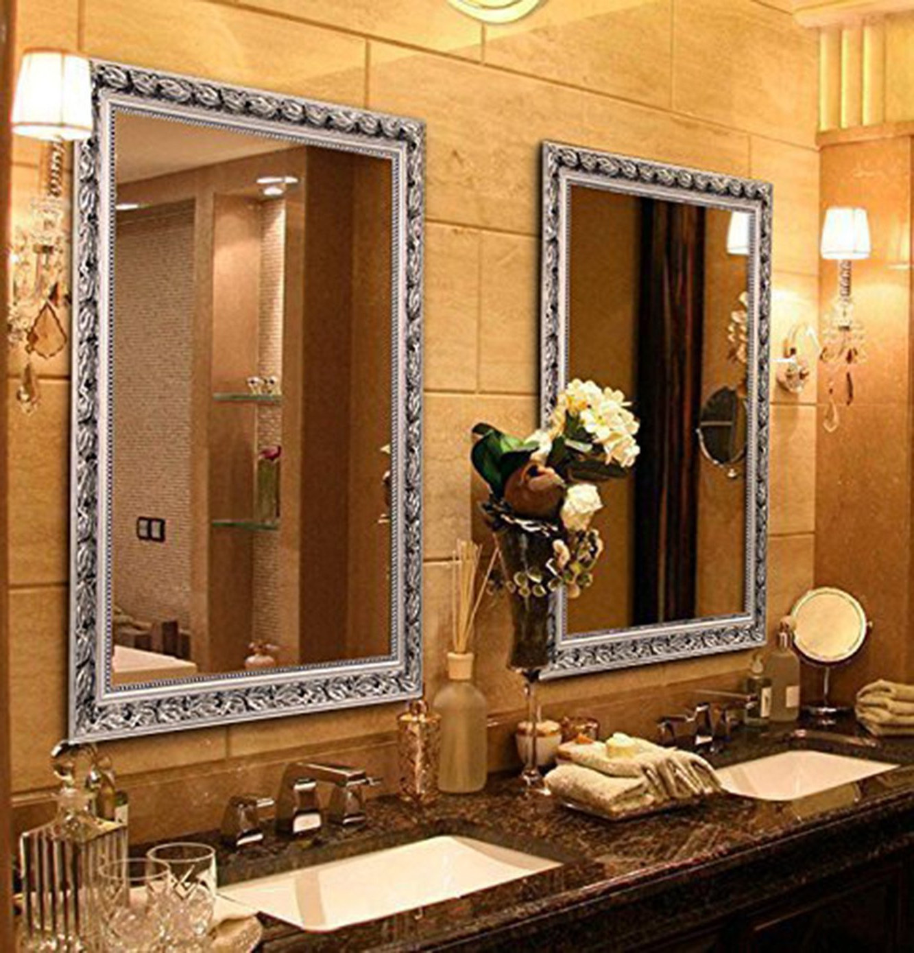 """Current Bathroom Full Wall Mirrors Throughout Large Rectangular Bathroom Mirror, Wall Mounted Wooden Frame Vanity Mirror,  Silver (32""""x24"""") (View 14 of 20)"""