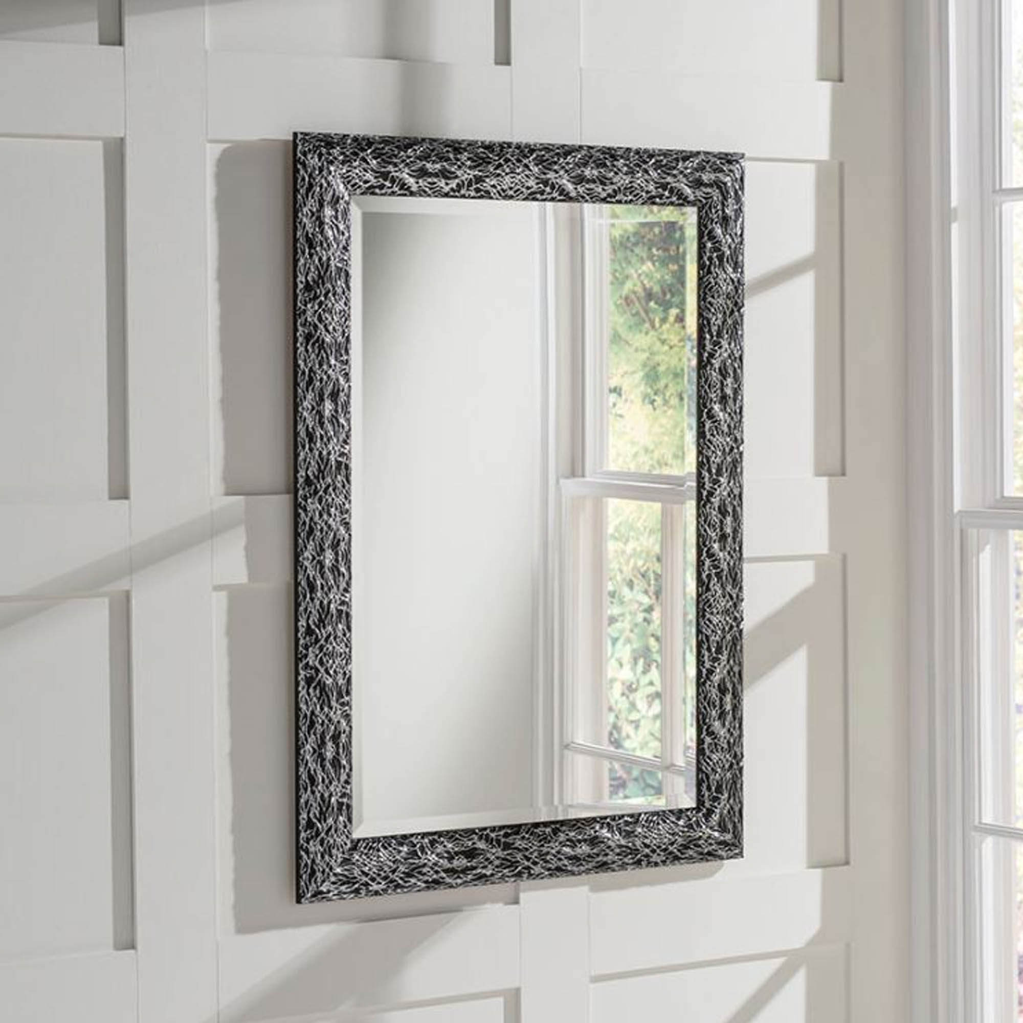Current Black And Silver Wall Mirrors In Detailed Rectangular Black And Silver Wall Mirror (View 7 of 20)