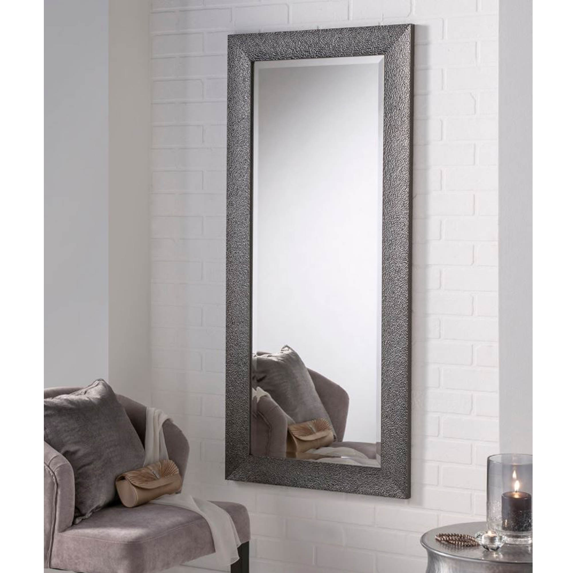 Current Bumped Texture Grey Rectangular Wall Mirror With Regard To Grey Wall Mirrors (View 3 of 20)