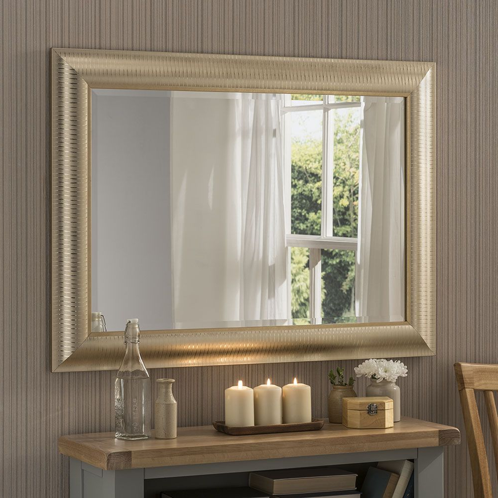 Current Champagne Wall Mirror With Pinstripes 79 X 64cm In Champagne Wall Mirrors (View 2 of 20)