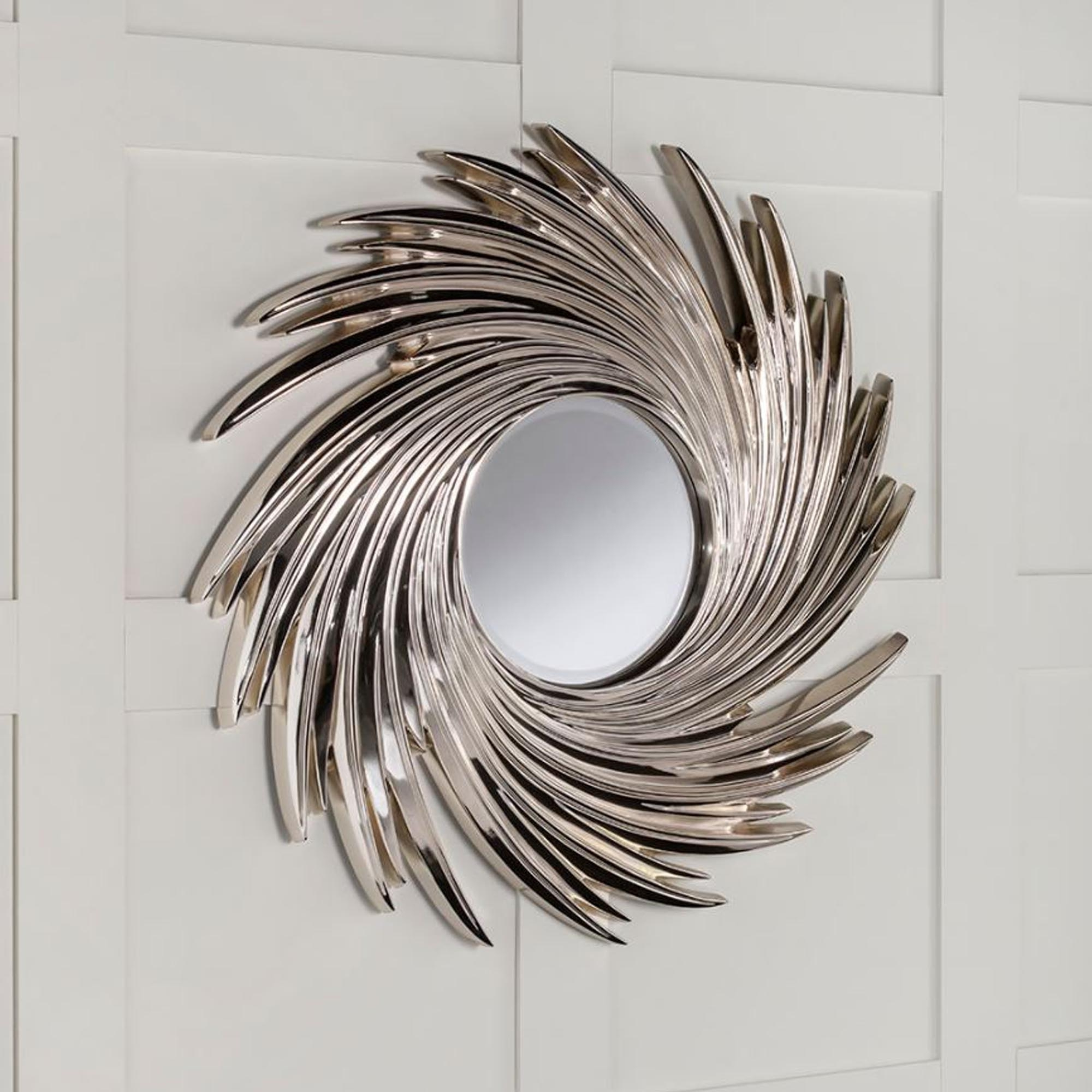 Current Chrome Silver Swirl Contemporary Wall Mirror With Regard To Swirl Wall Mirrors (Gallery 2 of 20)