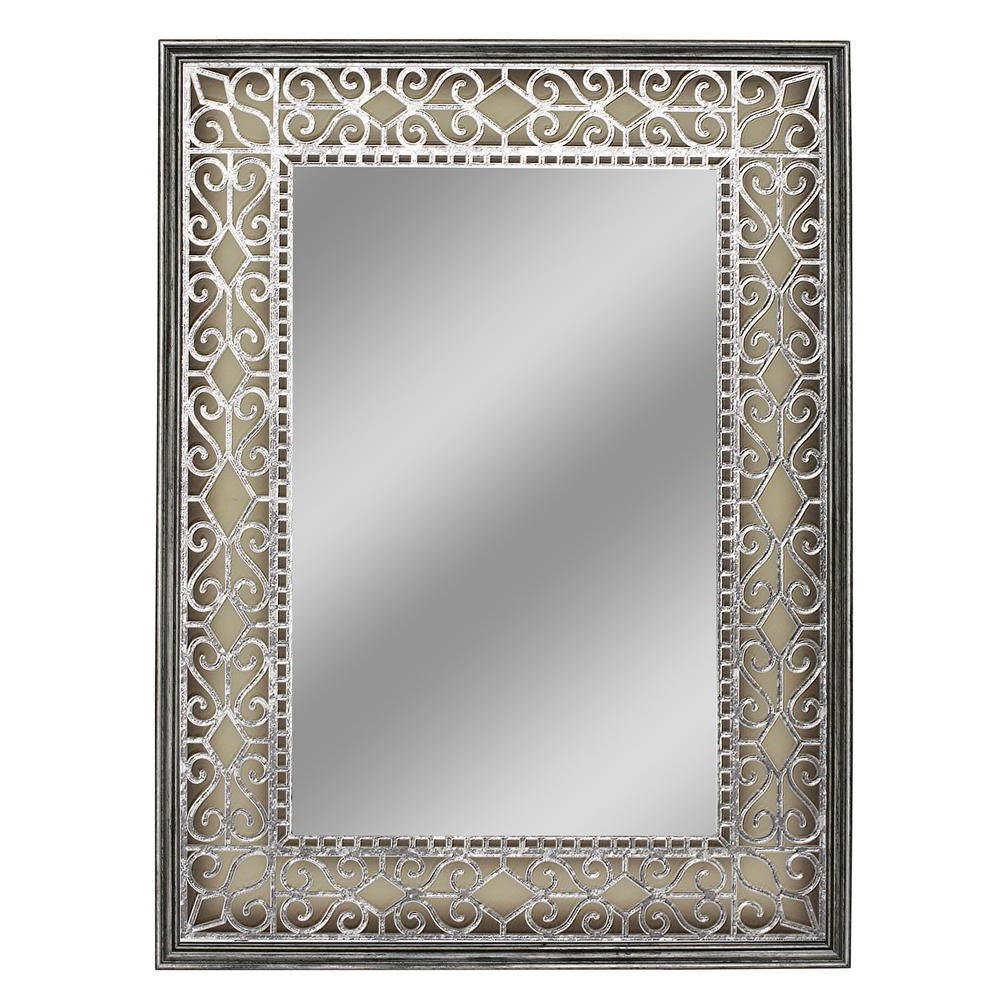 Current Deco Mirror 23.5 In. W X 31.5 In. H Stain Glass Fretwork Wall Mirror In Ulus Accent Mirrors (Gallery 11 of 20)