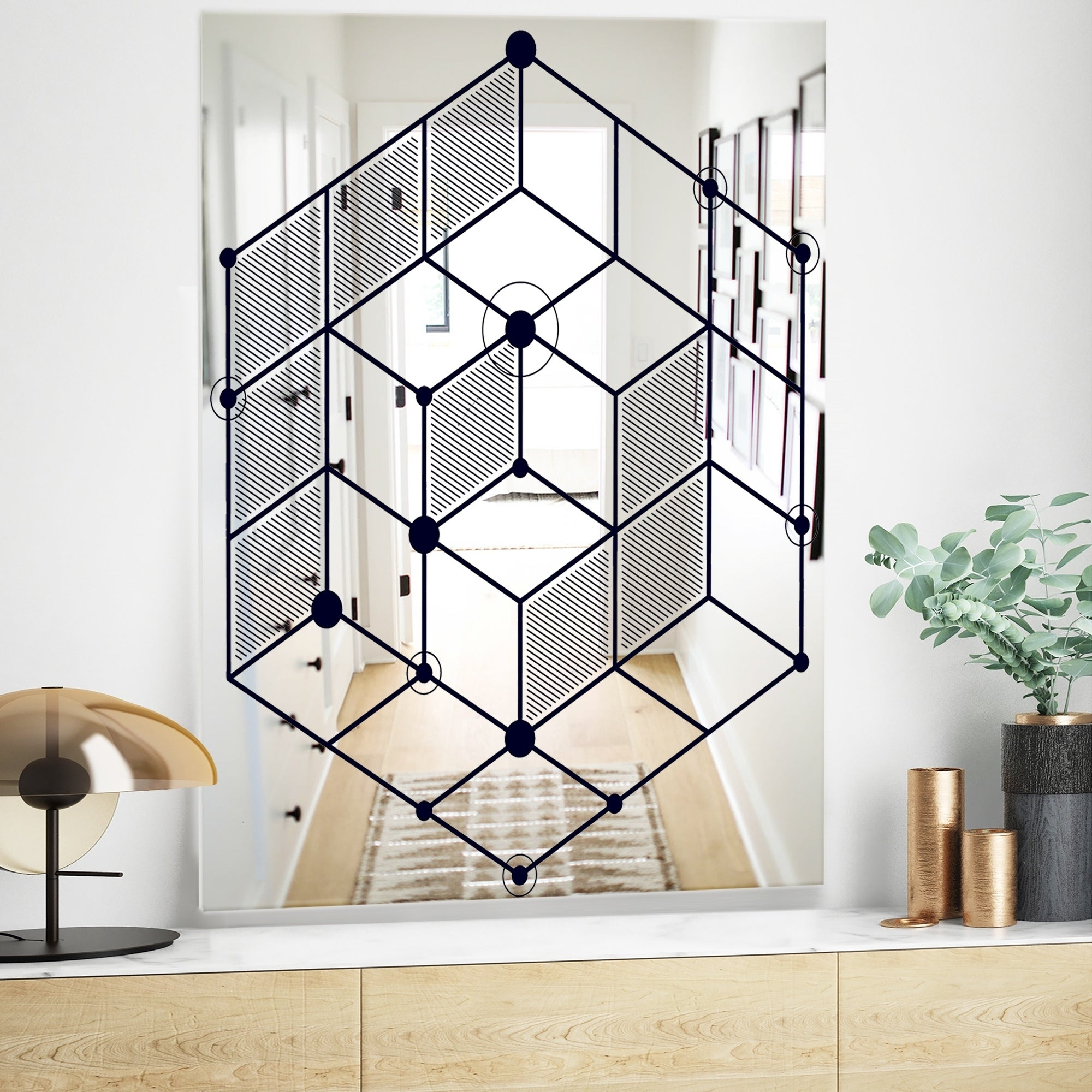 Current Designart 'dimentional Navy Blue Cube' Industrial Mirror – Large Wall Mirror – Black Pertaining To Huge Wall Mirrors (View 11 of 20)
