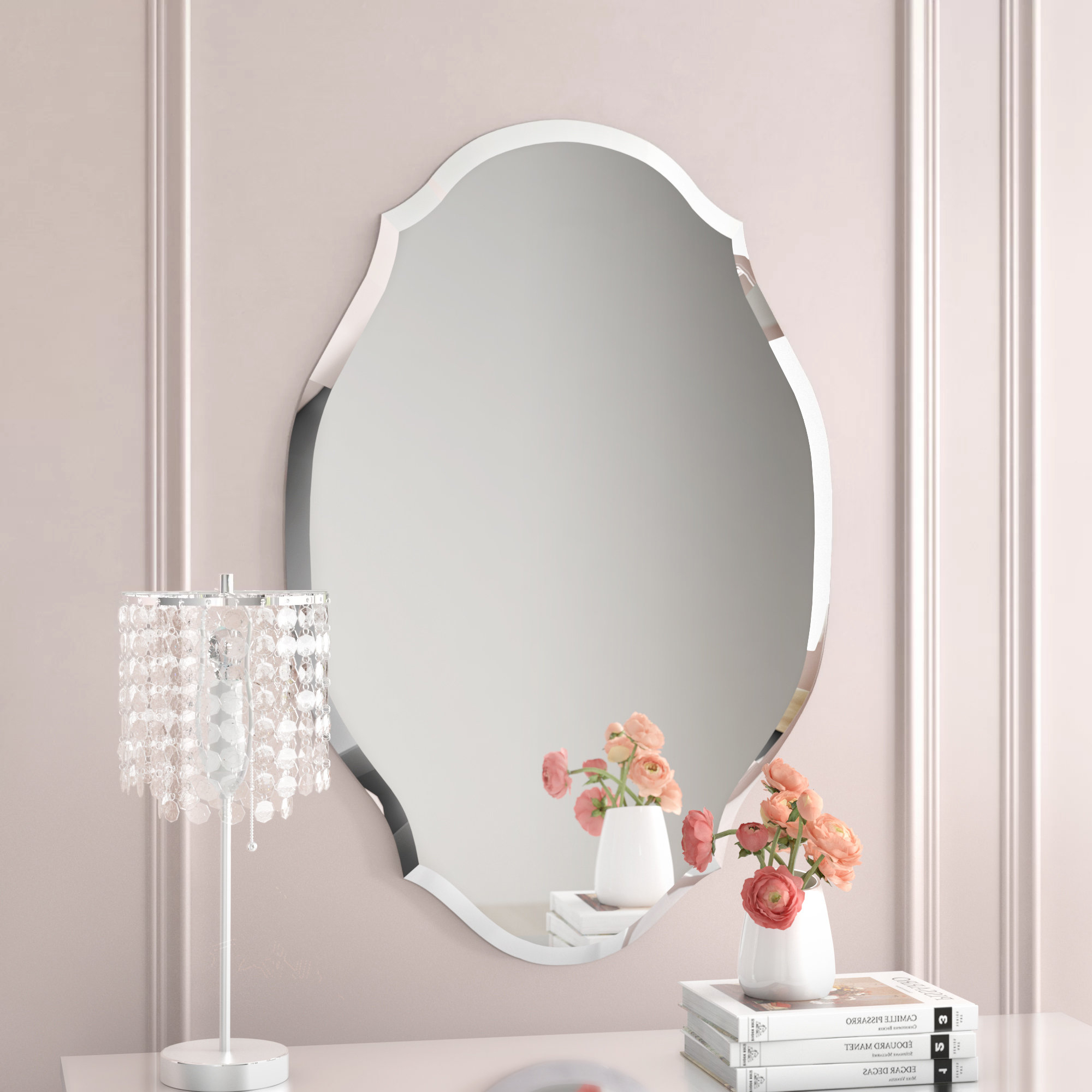 Current Egor Accent Mirror Inside Reign Frameless Oval Scalloped Beveled Wall Mirrors (View 2 of 20)
