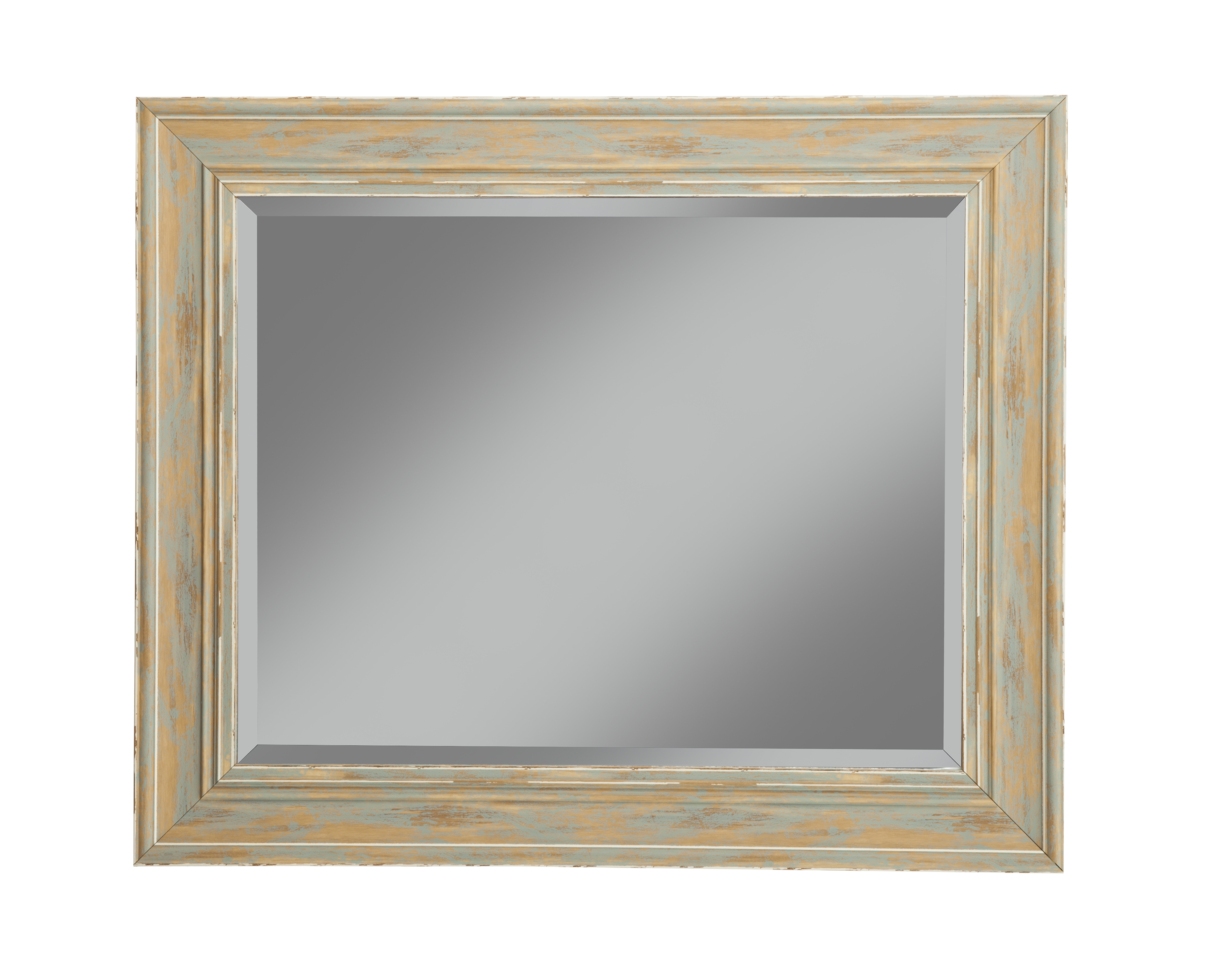 """Current Farmhouse Antique Turquoise Wall Beveled Mirror 36""""x30"""" Regarding Turquoise Wall Mirrors (View 2 of 20)"""