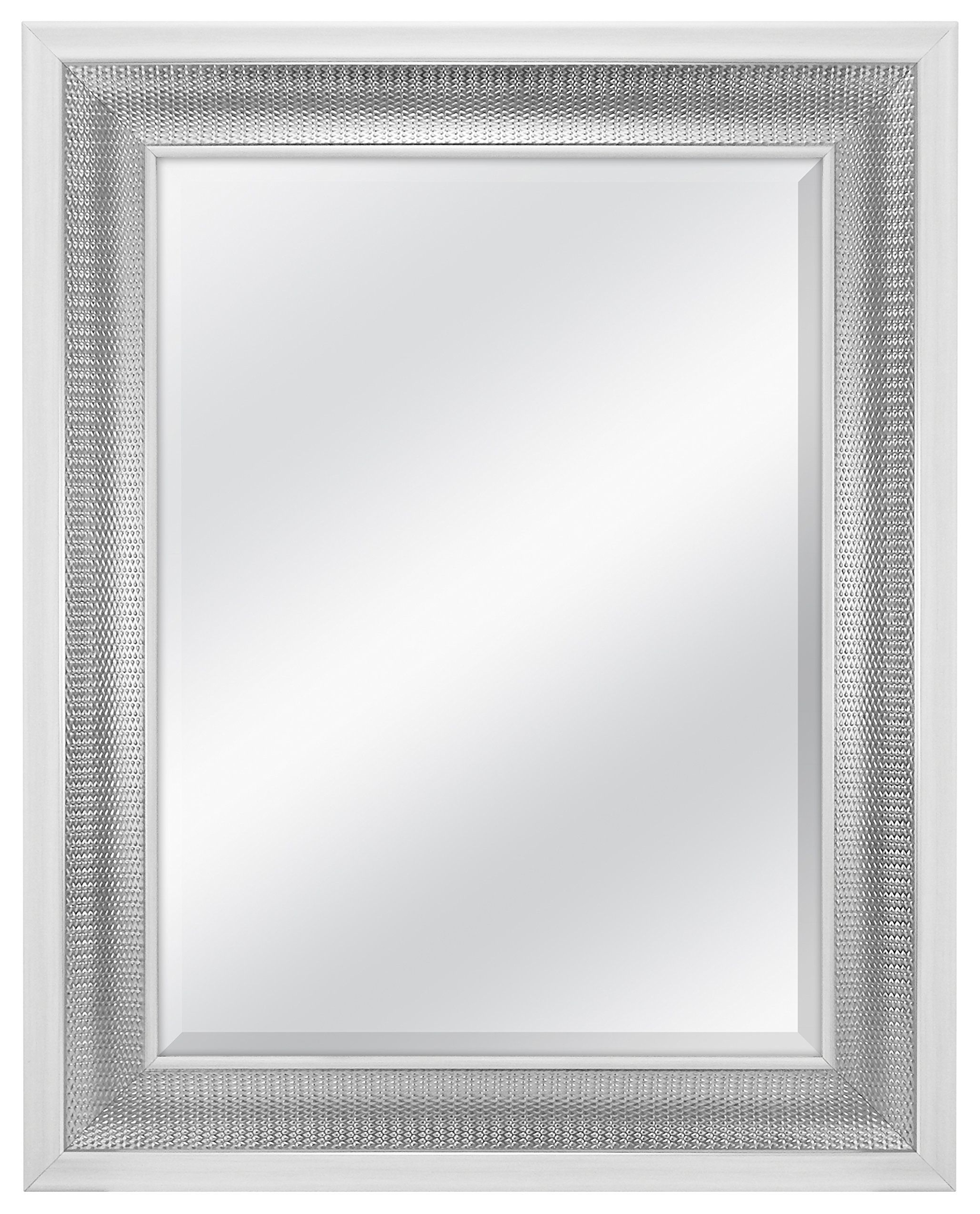 Current Farmhouse Woodgrain And Leaf Accent Wall Mirrors With Regard To Mcs 18x24 Inch Beveled Wall Mirror White & Woven, Silver ( (View 12 of 20)