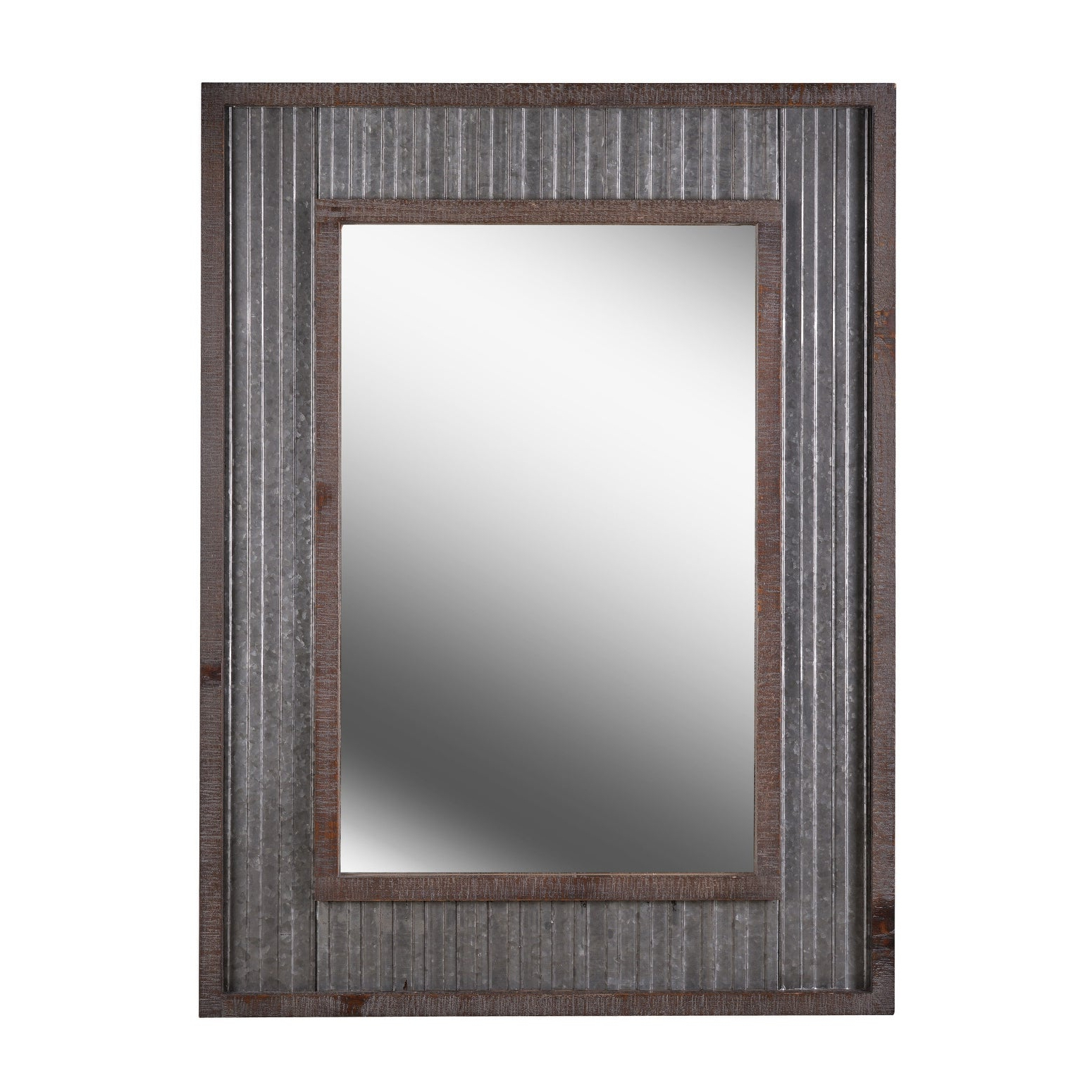 "Current Flat Wall Mirrors With Kenroy Home 60442 Westbend 40"" X 30"" Rectangular Flat Wall Mounted Mirror –  Galvanized / Distressed (View 3 of 20)"