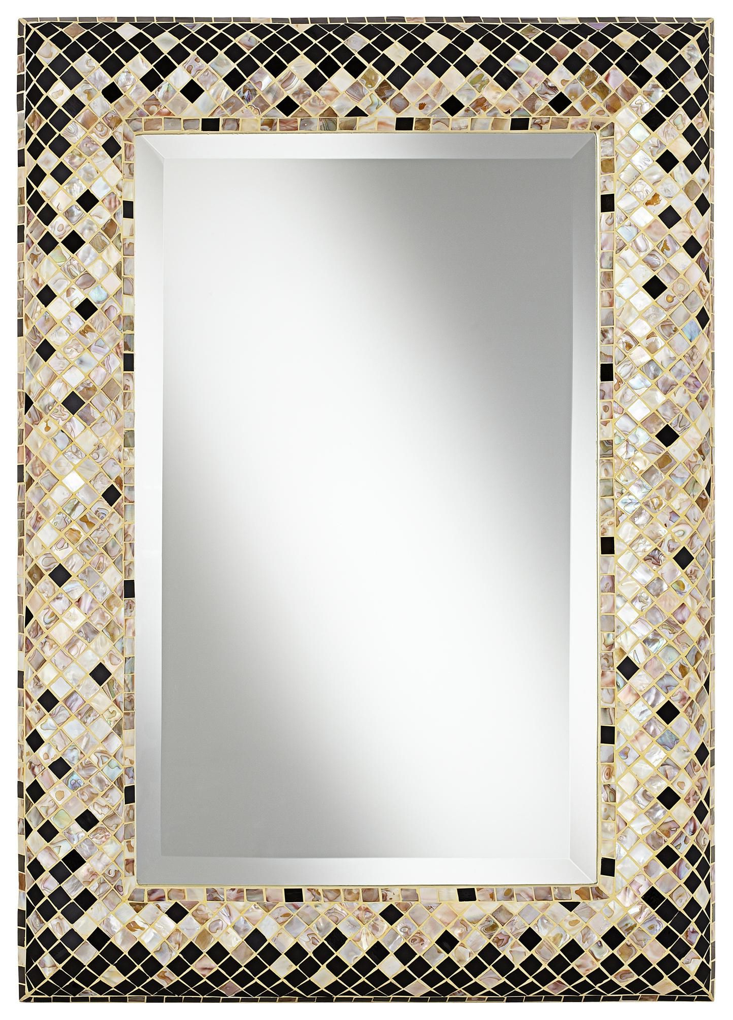 """Current Glass Mosaic Wall Mirrors Within Checkered Sea Shell 33"""" Mosaic Wall Mirror (View 4 of 20)"""