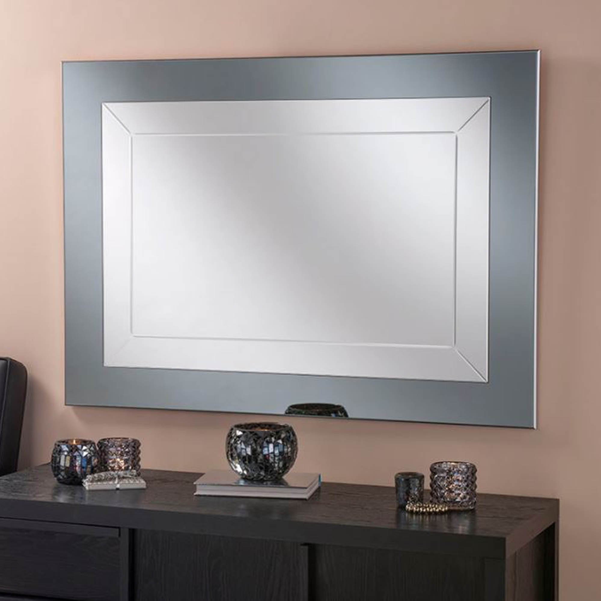 Current Grey Wall Mirrors In Grey Framed Contemporary Wall Mirror (View 12 of 20)