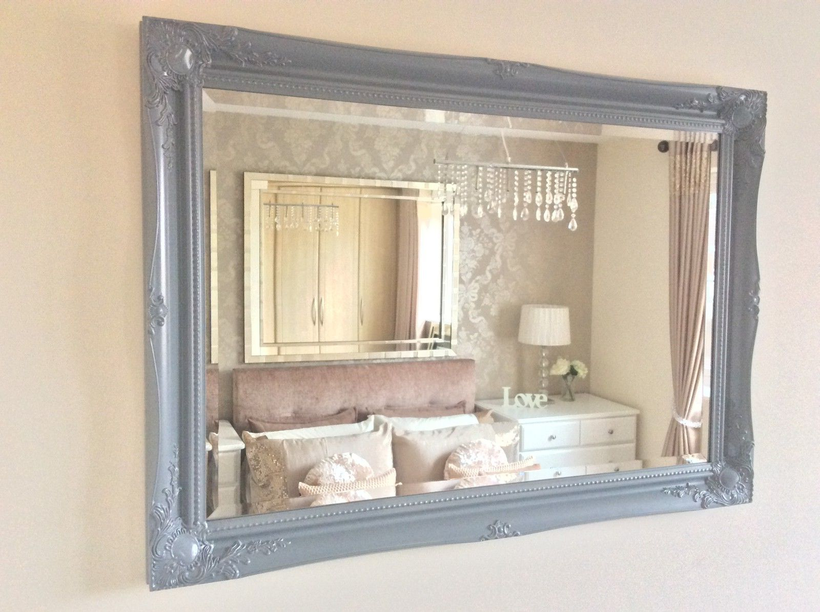 Current Grey Wall Mirrors With Regard To Large Grey Shabby Chic Ornate Decorative Wall Mirror Free Postage (View 19 of 20)