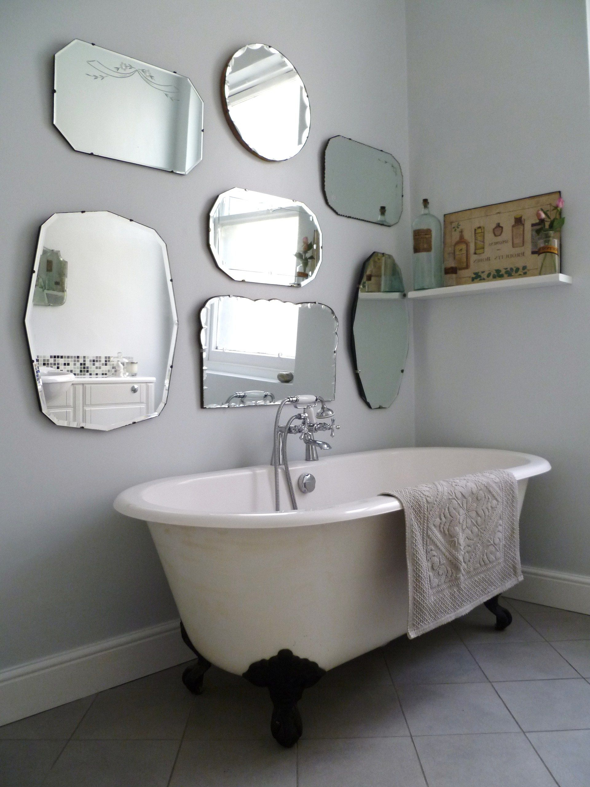 Current Hanging Wall Mirrors For Bathroom Inside How To Hang A Display Of Vintage Mirrors (Gallery 12 of 20)