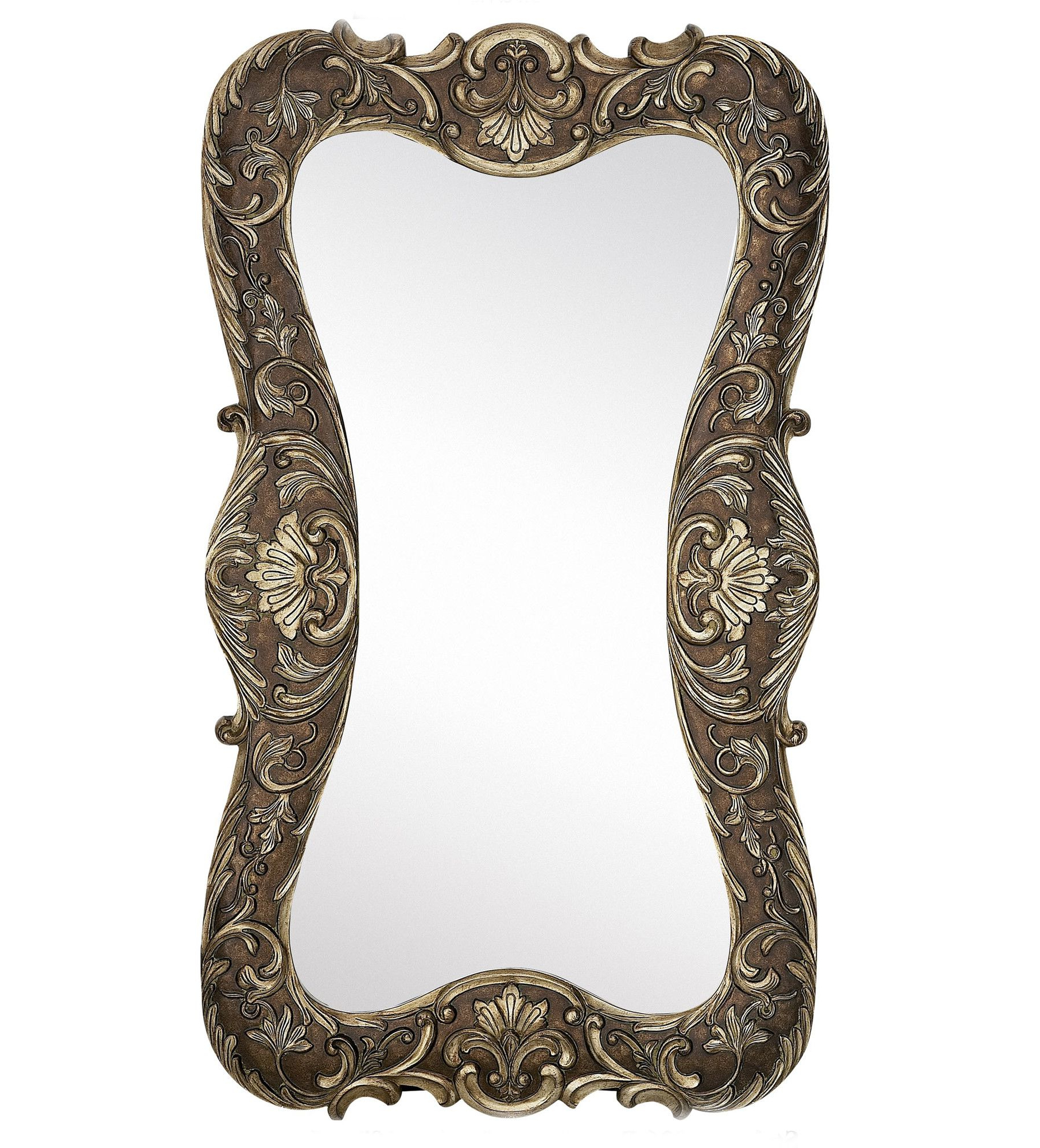 Current Hanging Wall Mirrors Pertaining To Large Curvy Silver With Dark Wash Traditional Hanging Wall Mirror (View 9 of 20)