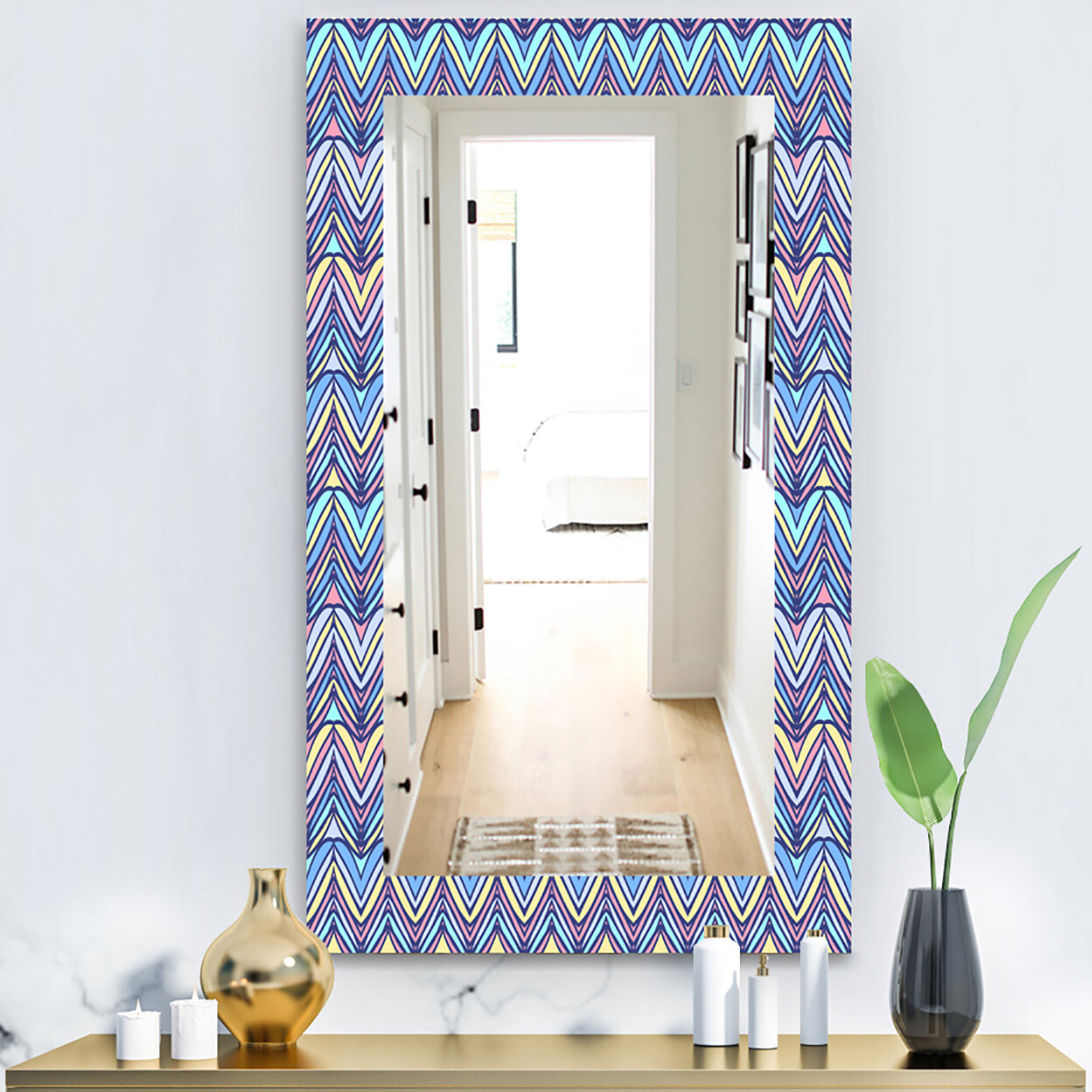 Current Industrial Modern & Contemporary Wall Mirrors Intended For Zig Zag Modern & Contemporary Frameless Wall Mirror (View 4 of 20)