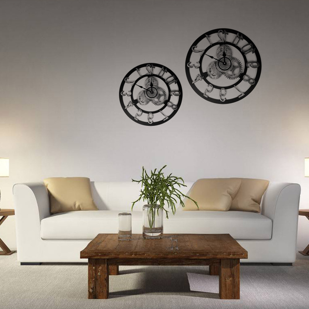 Current Industrial Style Vintage Clock European Steampunk Gear Wall Home Decoration Wall Mirror Stickers Home Decor Living Room #8 Hermle Clock Home Clock Within Decorative Living Room Wall Mirrors (Gallery 4 of 20)