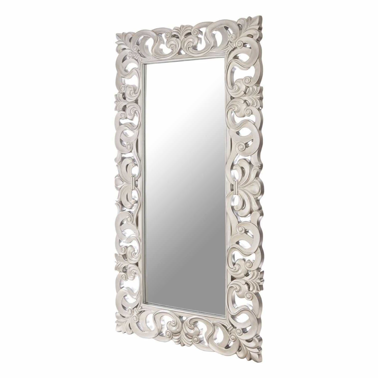 Current Large Modern Silver Finish Ornate Rectangular Decorative Wall Mirror Pertaining To Large Rectangular Wall Mirrors (View 7 of 20)