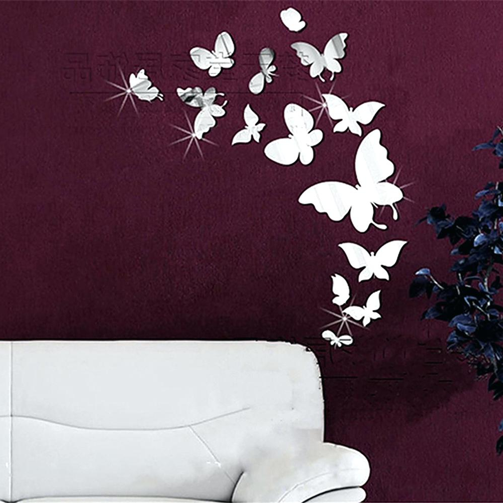 Current Mirrored Butterflies Wall Decals Butterfly Stickers Art Mirror Decor Intended For Butterfly Wall Mirrors (View 6 of 20)