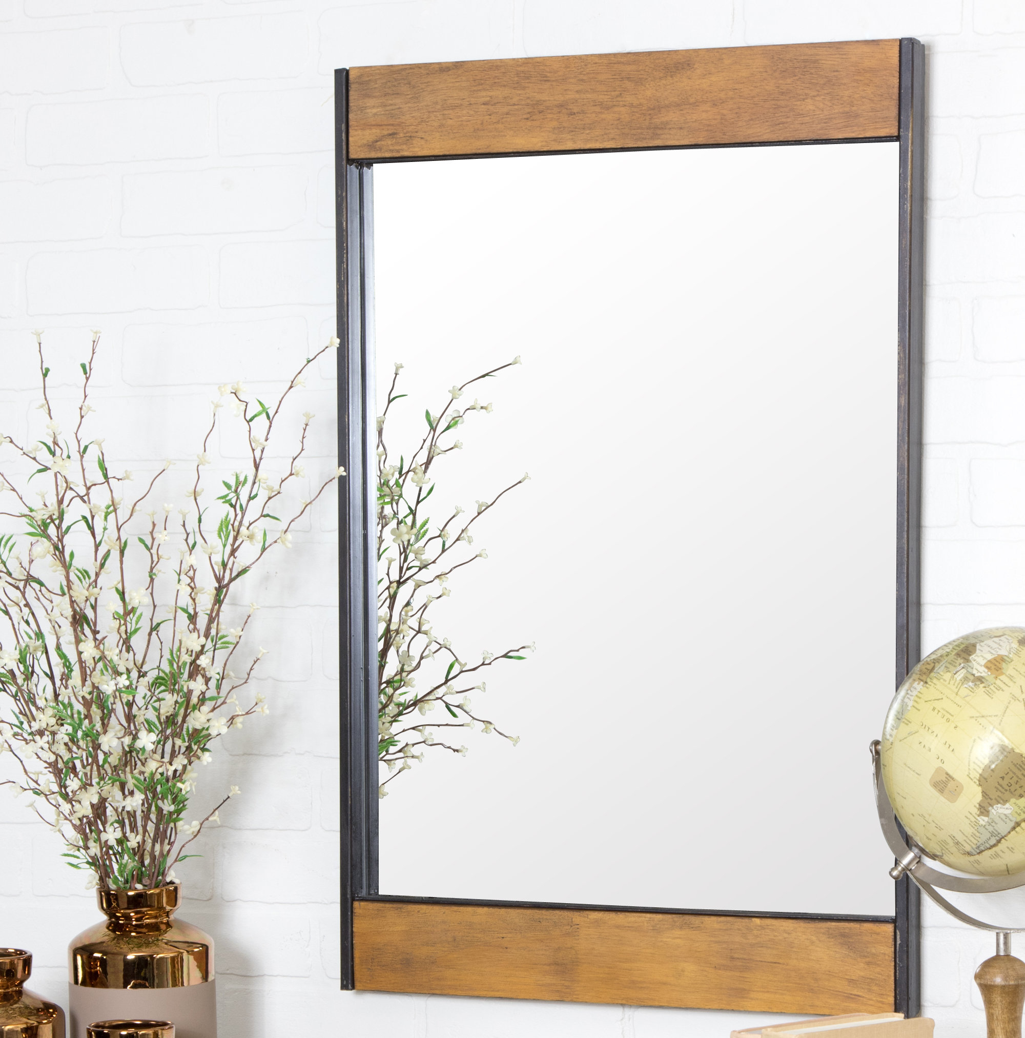 Current Modern Rustic Interiors Miranda Wood And Metal Wall Mirror With Koeller Industrial Metal Wall Mirrors (View 9 of 20)