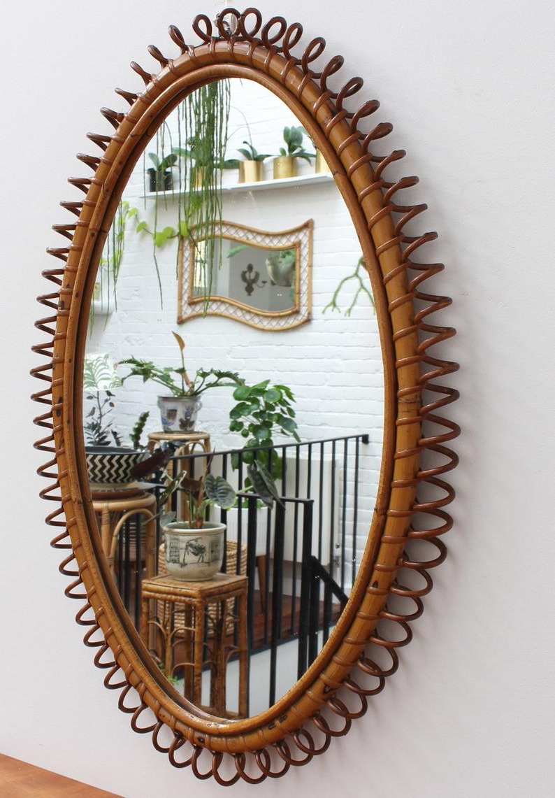 Current Oval Shaped Wall Mirrors For Italian Oval Shaped Rattan Wall Mirror (Circa 1960S) (View 3 of 20)