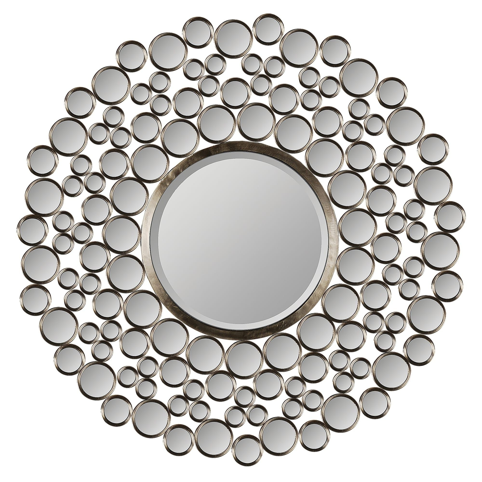 Current Ren Wil Chic Satin Nickel Round Mirror – Satin Nickel (Satin Nickel With Regard To Kentwood Round Wall Mirrors (View 5 of 20)