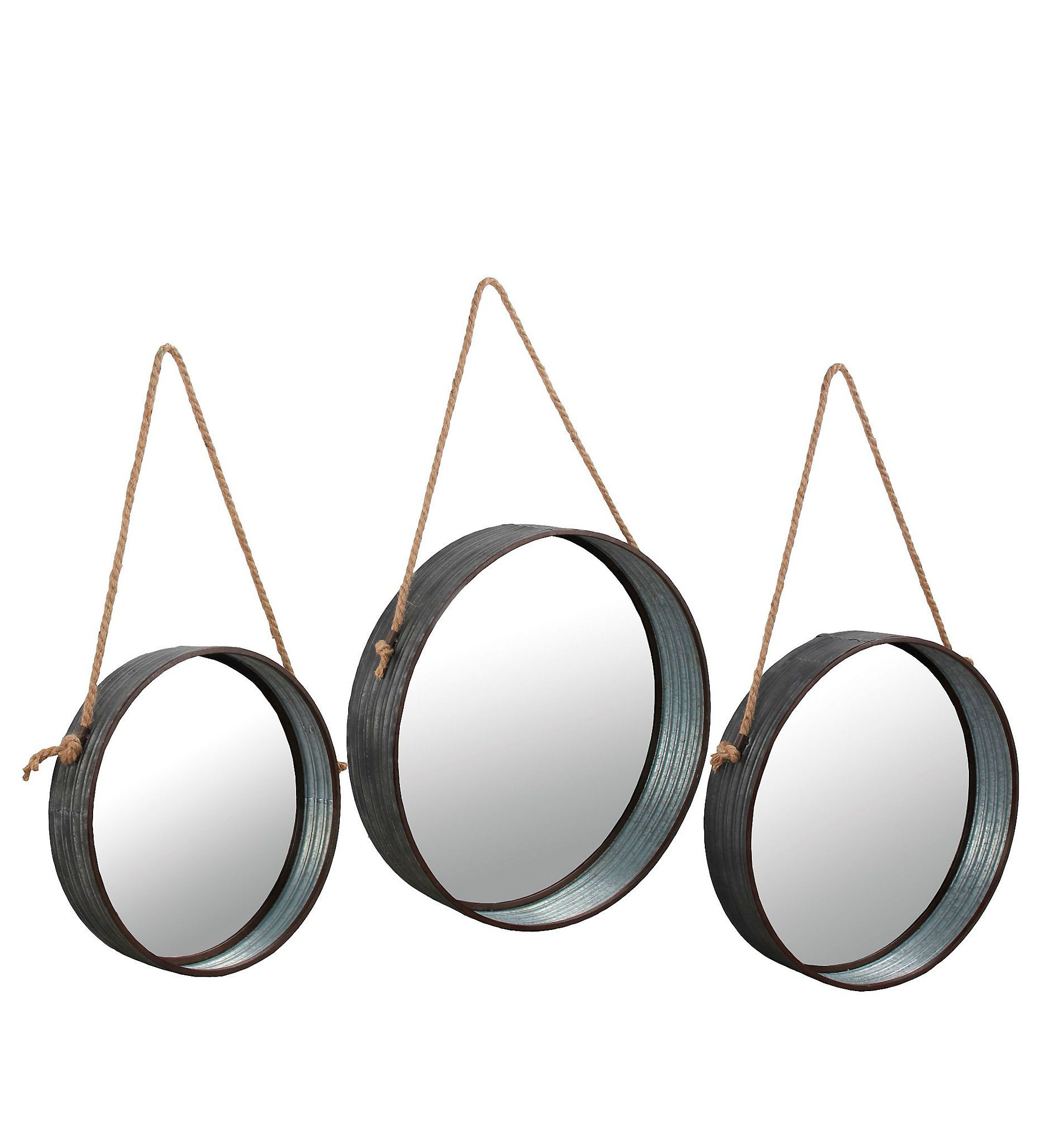 Current Round Galvanized Metallic Wall Mirrors Pertaining To Product Details Galvanized Metal Round Wall Mirrors, Set Of (View 10 of 20)