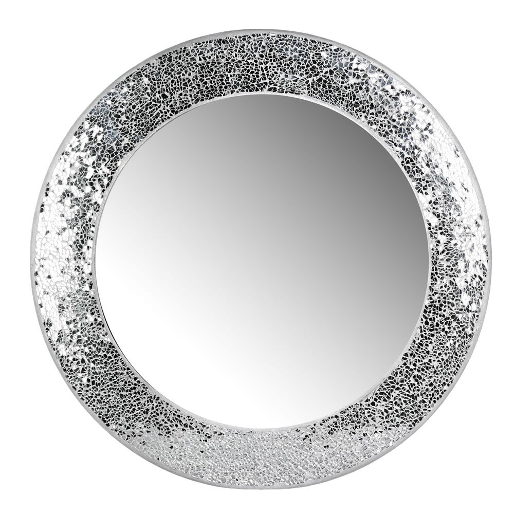 Current Round Mosaic Wall Mirrors With Regard To Wilko Silver Mosaic Mirror (View 17 of 20)