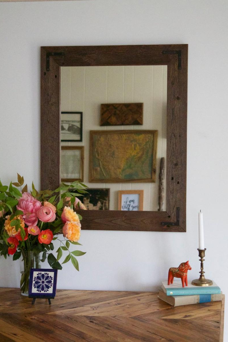 Current Rustic Wood Wall Mirrors In Rustic Wood Mirror, Reclaimed Wood Wall Mirror, Wall Mirror, Vanity Mirror, Bathroom Mirror, Rustic Mirror, Reclaimed Wood Mirror, Frame (View 5 of 20)