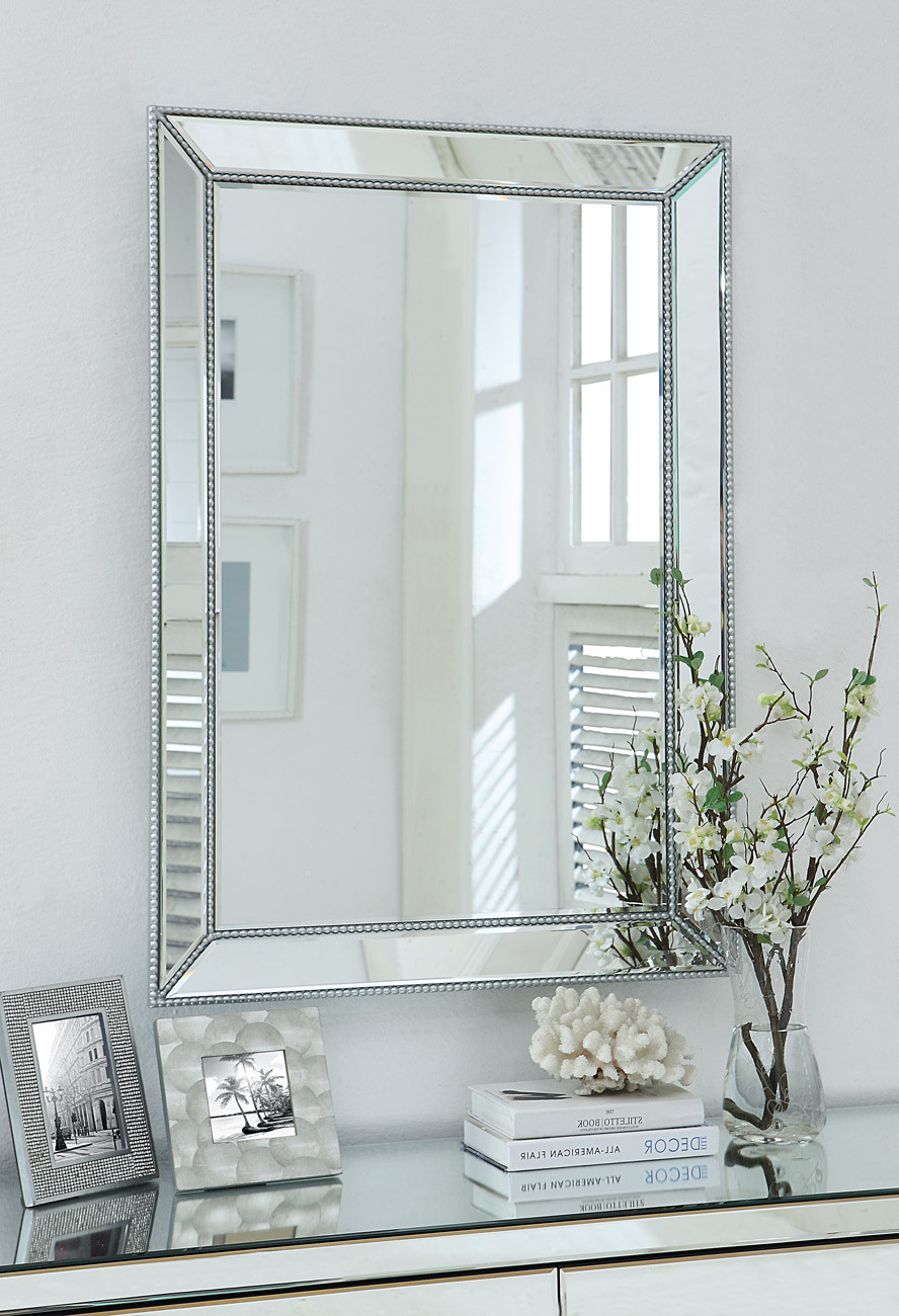Current Silver Beaded Wall Mirrors Pertaining To Valentina Silver Beaded Wall Mirror (View 3 of 20)