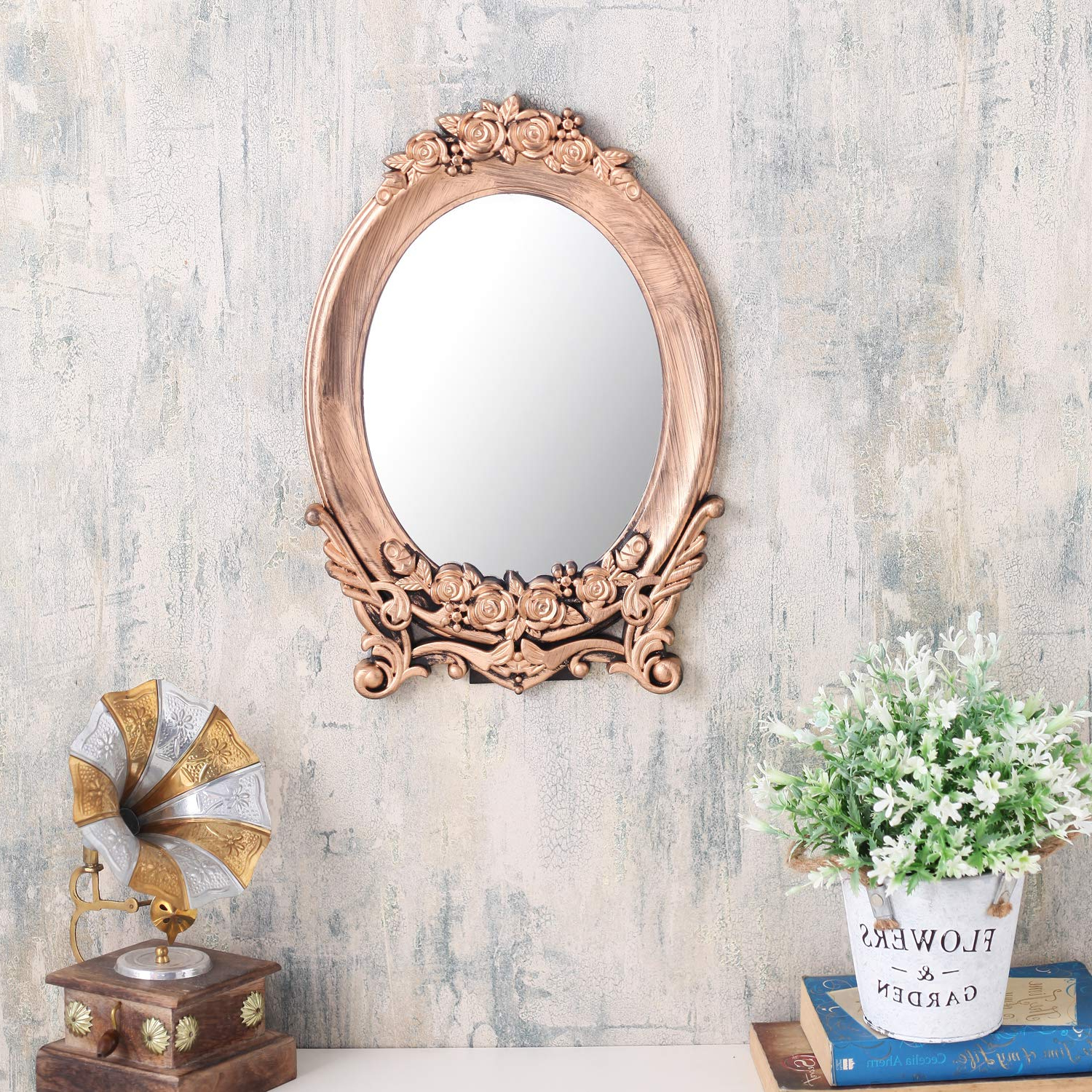 Current Small Vintage Wall Mirrors With Regard To A Vintage Affair Decorative Wall Mirror Antique Hanging Design Small Size  Oval For Bedroom Bathroom Living Room Office Copper (View 3 of 20)