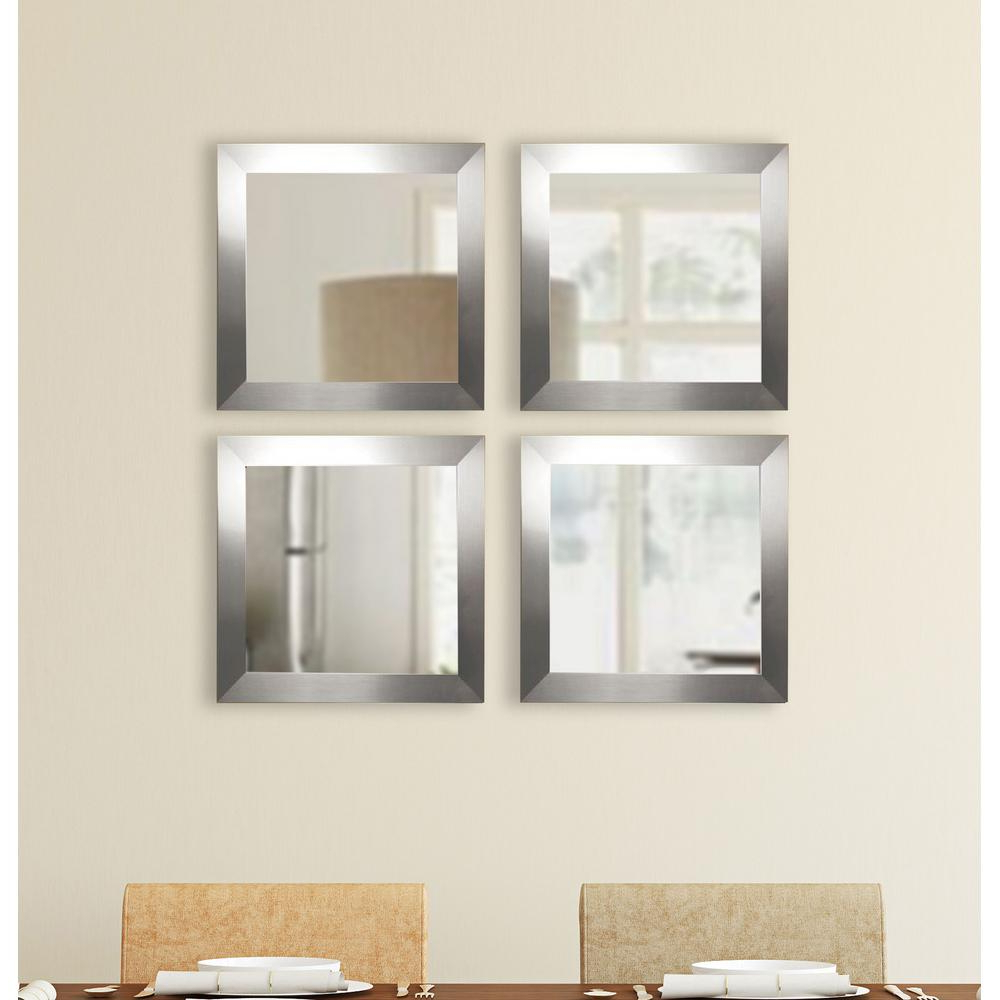 Current Square Wall Mirror Sets Intended For 17.5 In. X 17.5 In. Silver Wide Square Wall Mirrors (Set Of 4) (Gallery 1 of 20)