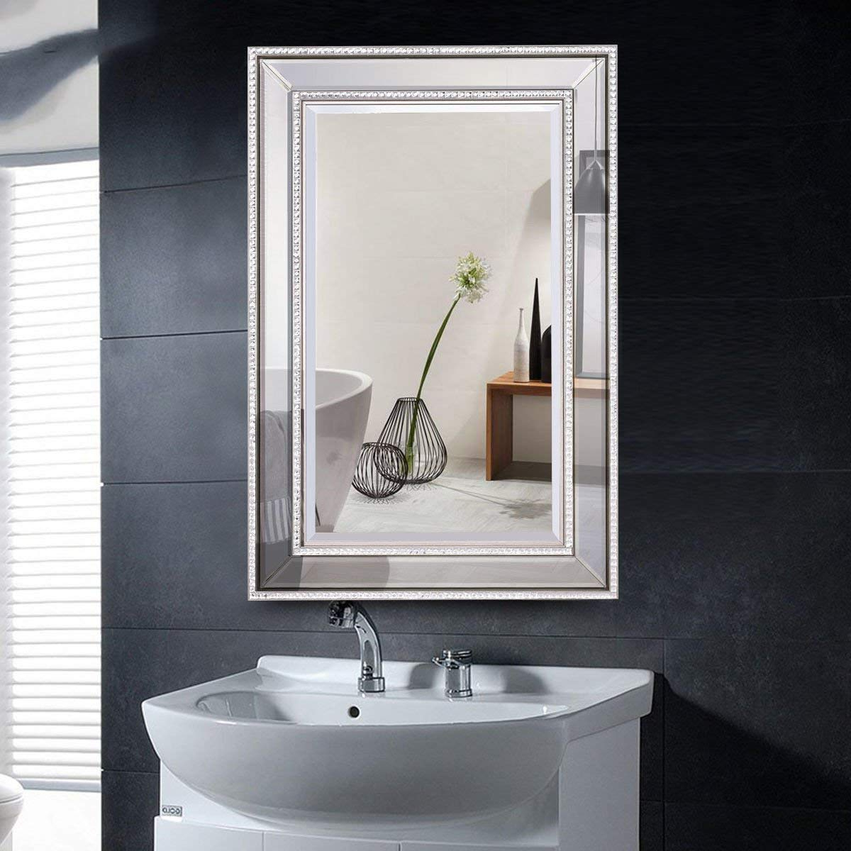 "Current Tangkula 24"" X 36"" Wall Mirror Wall Mounted Wood Frame Rectangular Bathroom Vanity Mirror Pertaining To 24 X 36 Wall Mirrors (View 2 of 20)"