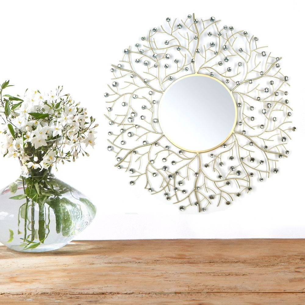 Current Vertical Round Wall Mirrors Pertaining To Hanging Wall Mirror Beautiful Acrylic Round Vertical Gold Elegant (View 8 of 20)