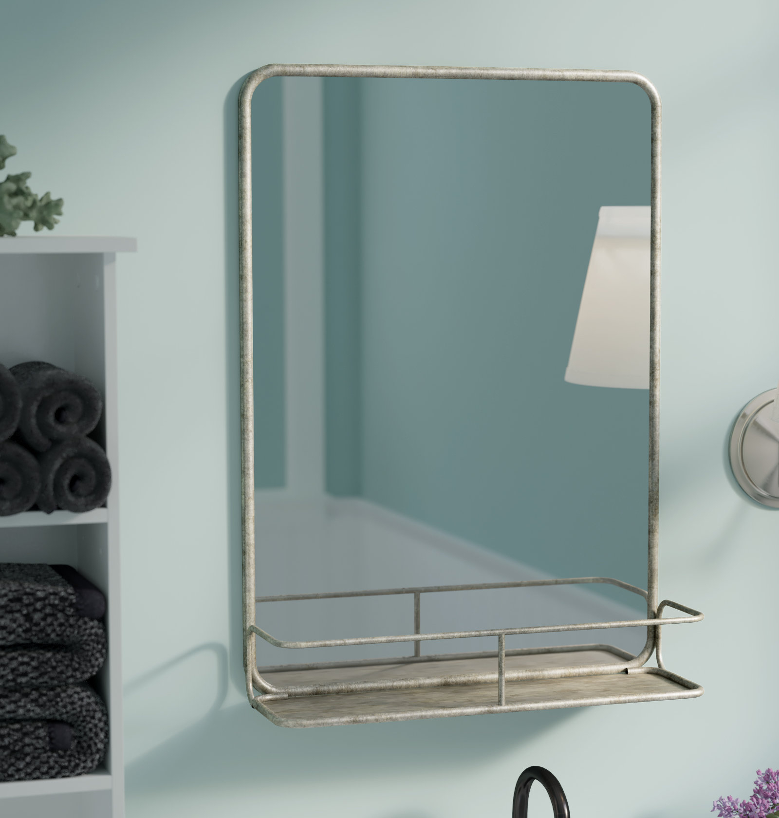 Current Wall Mirrors With Shelf With Regard To Breakwater Bay Diep Metal Wall Mirror With Shelf (View 6 of 20)