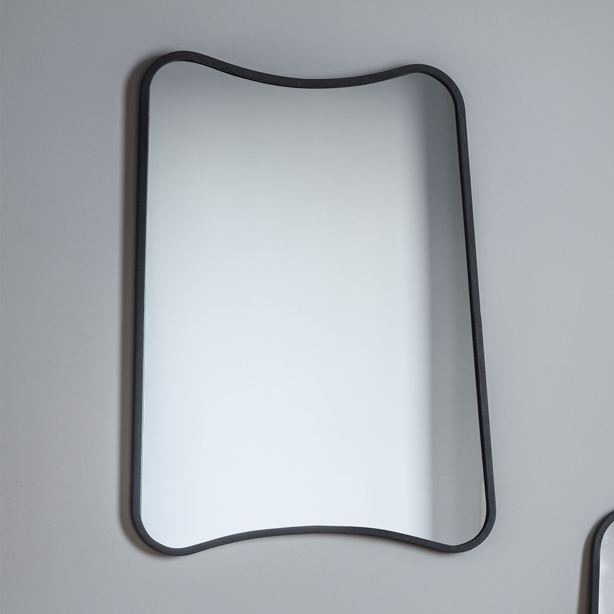 Curved Edge Black Rectangle Wall Mirror 80 X 60cm Throughout Most Current Black Rectangle Wall Mirrors (View 10 of 20)