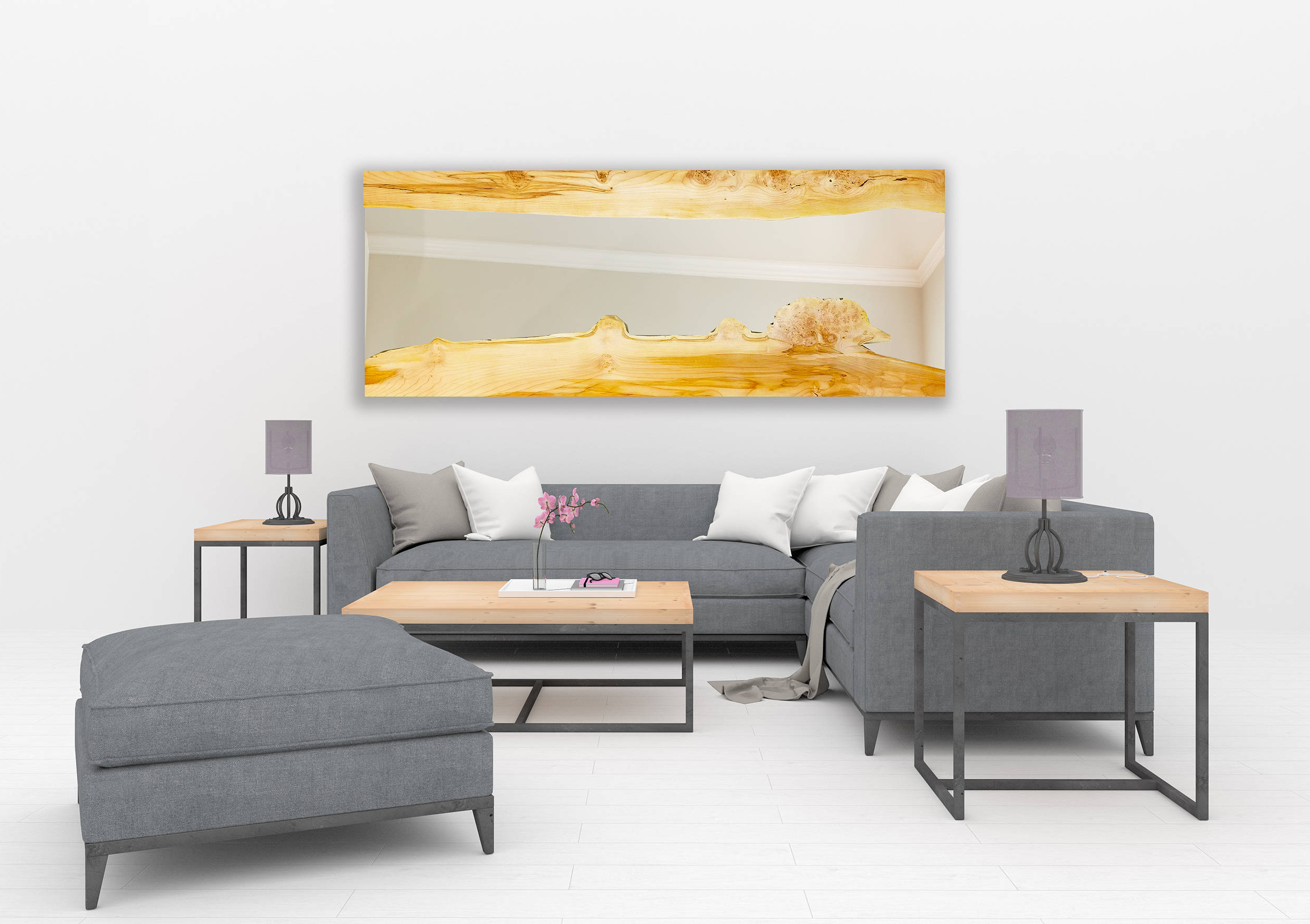 Custom – Large Maple Wall Mirror – Living Room – Modern – Live Edge – Minimalistic Pertaining To Most Up To Date Living Room Wall Mirrors (View 20 of 20)