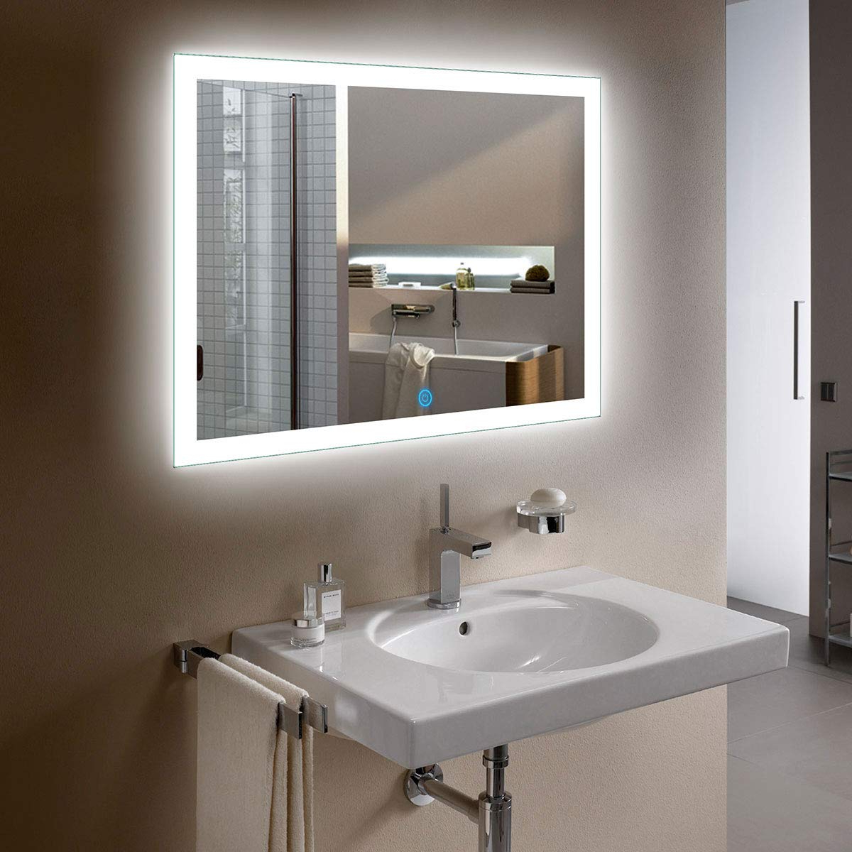 D Hyh Horizontal Rectangle Illuminated Bathroom Wall Mirror White Mirror  With Lights With Touch Button 36 X 28 Inch(D N031 I) For Most Recently Released Horizontal Wall Mirrors (View 4 of 20)