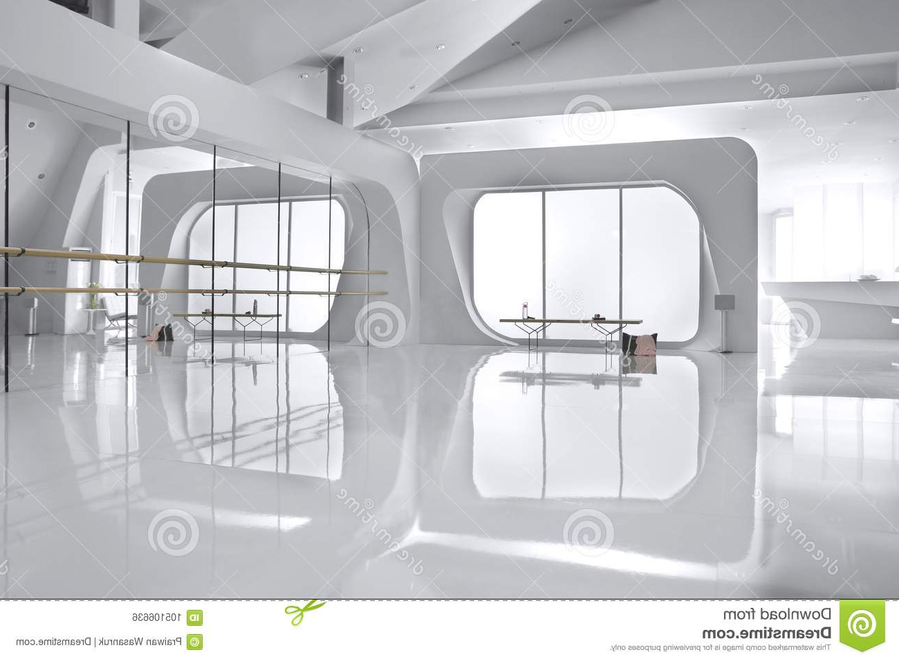 Dance Wall Mirrors With Famous Mirror Wall In White Dance Studio Stock Photo – Image Of Curve (View 18 of 20)